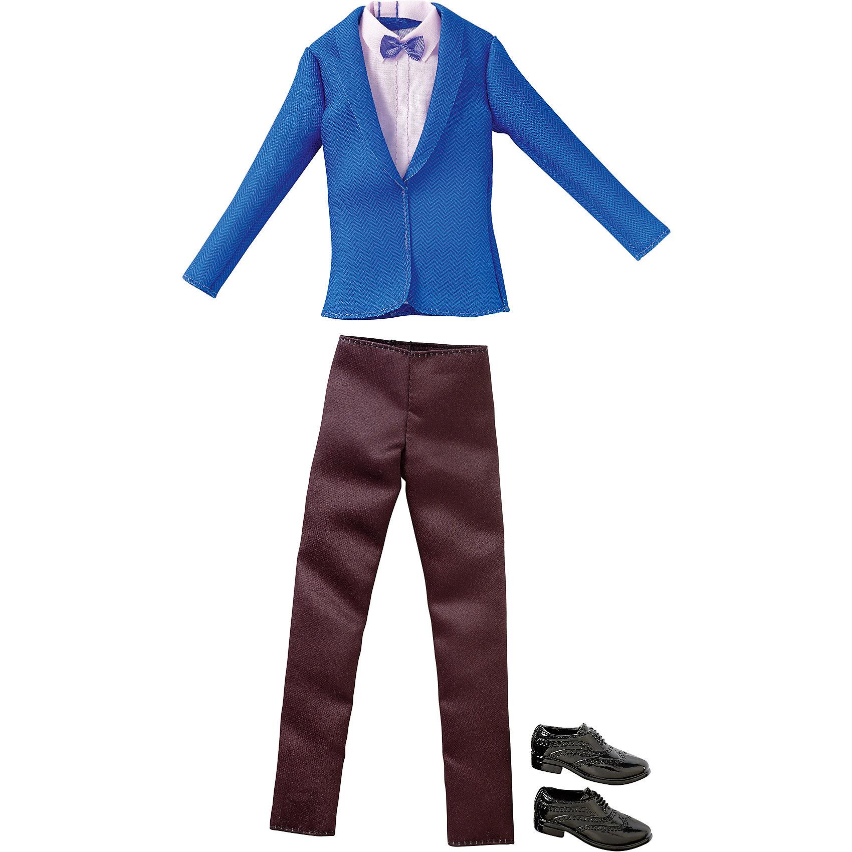 Одежда для Кена, BarbieBarbie<br>Набор одежды для друга куклы Barbie - Кена - отличный вариант подарка для любительницы этих кукол. В набор входят стильная футболка (рубашка), шорты (брюки) и обувь. Предметы из разных комплектов можно комбинировать, создавая новые шикарные образы для любимой куклы.<br>Такие игрушки помогают развить мелкую моторику, логическое мышление и воображение ребенка. Эта игрушка выполнена из текстиля и высококачественного прочного пластика, безопасного для детей, отлично детализирована.<br><br>Дополнительная информация:<br><br>комплектация: стильная футболка (рубашка), шорты (брюки) и обувь, пара туфель; <br>цвет: разноцветный;<br>материал: пластик, текстиль;<br>кукла продается отдельно!<br><br>Одежду для Кена, Barbie от компании Mattel можно купить в нашем магазине.<br><br>Ширина мм: 258<br>Глубина мм: 114<br>Высота мм: 17<br>Вес г: 33<br>Возраст от месяцев: 36<br>Возраст до месяцев: 96<br>Пол: Женский<br>Возраст: Детский<br>SKU: 4918794