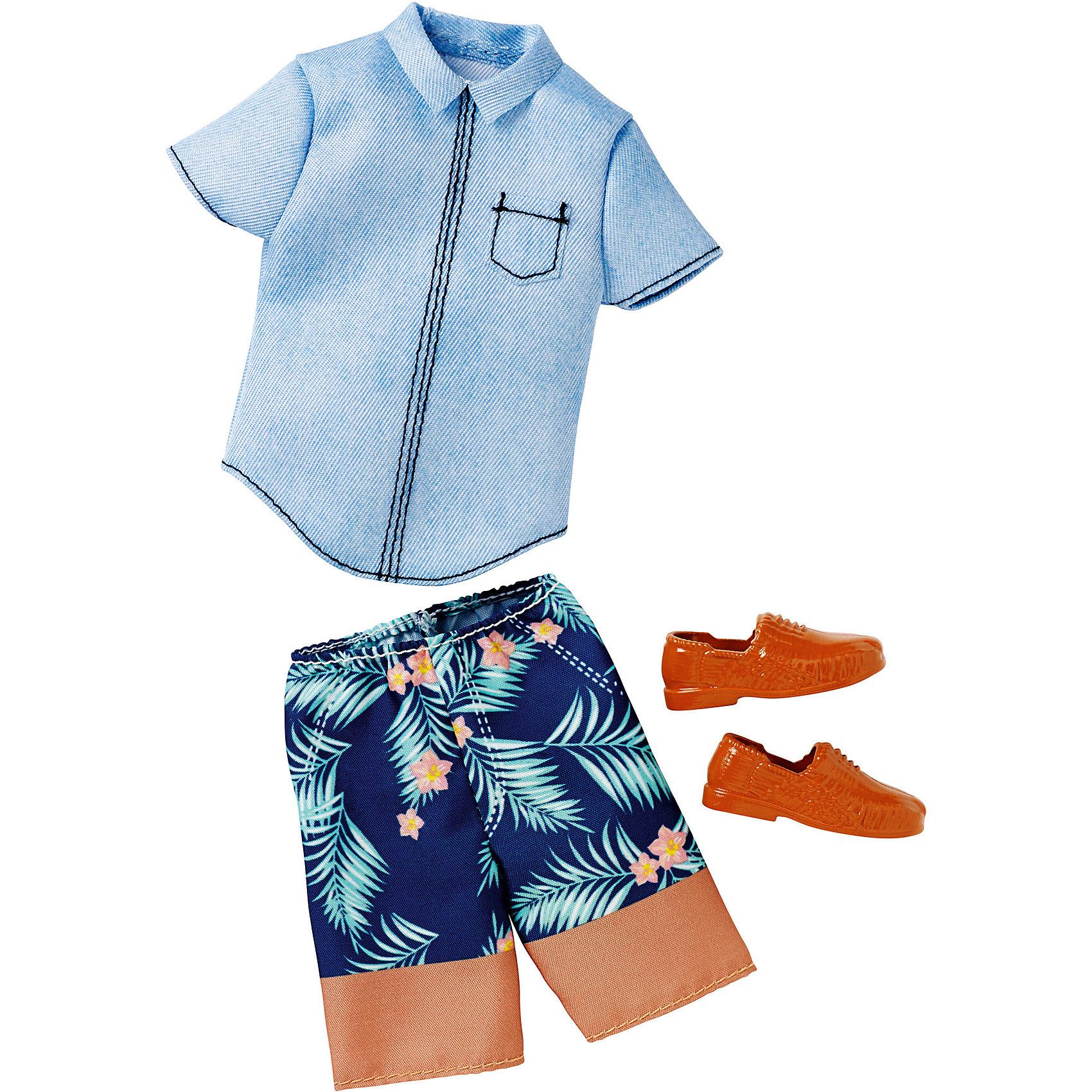 Одежда для Кена, BarbieBarbie Одежда и аксессуары<br>Набор одежды для друга куклы Barbie - Кена - отличный вариант подарка для любительницы этих кукол. В набор входят стильная футболка (рубашка), шорты (брюки) и обувь. Предметы из разных комплектов можно комбинировать, создавая новые шикарные образы для любимой куклы.<br>Такие игрушки помогают развить мелкую моторику, логическое мышление и воображение ребенка. Эта игрушка выполнена из текстиля и высококачественного прочного пластика, безопасного для детей, отлично детализирована.<br><br>Дополнительная информация:<br><br>комплектация: стильная футболка (рубашка), шорты (брюки) и обувь, пара туфель; <br>цвет: разноцветный;<br>материал: пластик, текстиль;<br>кукла продается отдельно!<br><br>Одежду для Кена, Barbie от компании Mattel можно купить в нашем магазине.<br><br>Ширина мм: 258<br>Глубина мм: 114<br>Высота мм: 17<br>Вес г: 33<br>Возраст от месяцев: 36<br>Возраст до месяцев: 96<br>Пол: Женский<br>Возраст: Детский<br>SKU: 4918796