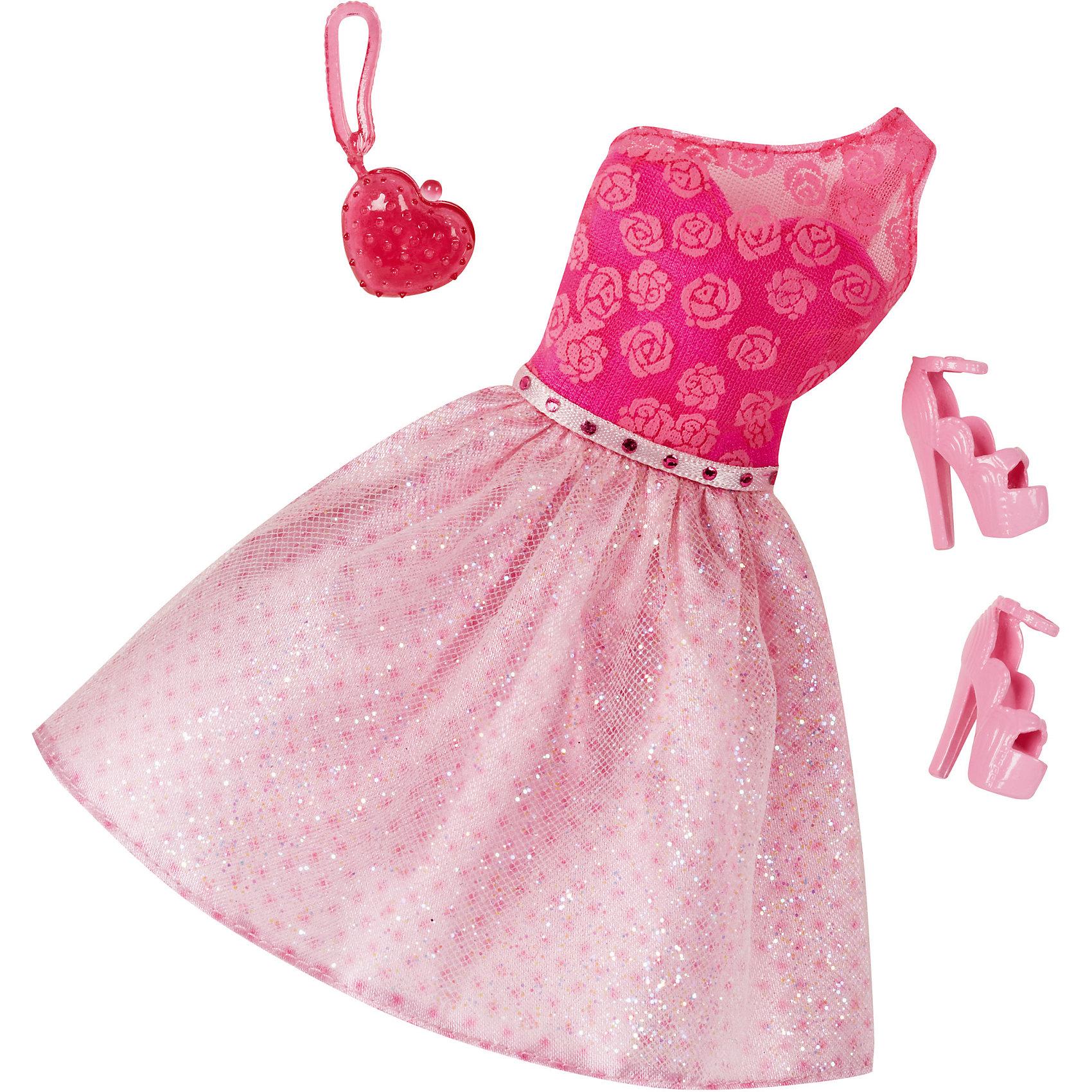 Комплект одежды, BarbieКомплект одежды, Barbie, станет прекрасным подарком для всех юных обладательниц кукол Барби. В ассортименте представлена серия шикарных праздничных нарядов, которые сделают Вашу куколку еще более ослепительной. Здесь есть роскошные платья и стильные пальто, а к ним - подходящие элегантные туфли и сумочка. Все модели выполнены по мотивам реальных модных тенденций. Современные силуэты, красивые ткани, эффектные расцветки будут по достоинству оценены юной модницей. Предметы из разных комплектов можно комбинировать, создавая новые шикарные образы для любимой куклы. Одежда подходит большинству кукол Барби. Кукла в комплект не входит, продается отдельно!<br><br>Дополнительная информация:<br><br>- В комплекте: один предмет одежды (платье или пальто), пара туфель, сумочка.<br>- Кукла продается отдельно!<br>- Материал: текстиль, пластик.<br>- Размер упаковки: 12 х 2 х 25 см.<br><br>Комплект одежды, Barbie, можно купить в нашем интернет-магазине.<br><br>Ширина мм: 257<br>Глубина мм: 119<br>Высота мм: 12<br>Вес г: 30<br>Возраст от месяцев: 36<br>Возраст до месяцев: 96<br>Пол: Женский<br>Возраст: Детский<br>SKU: 4918804