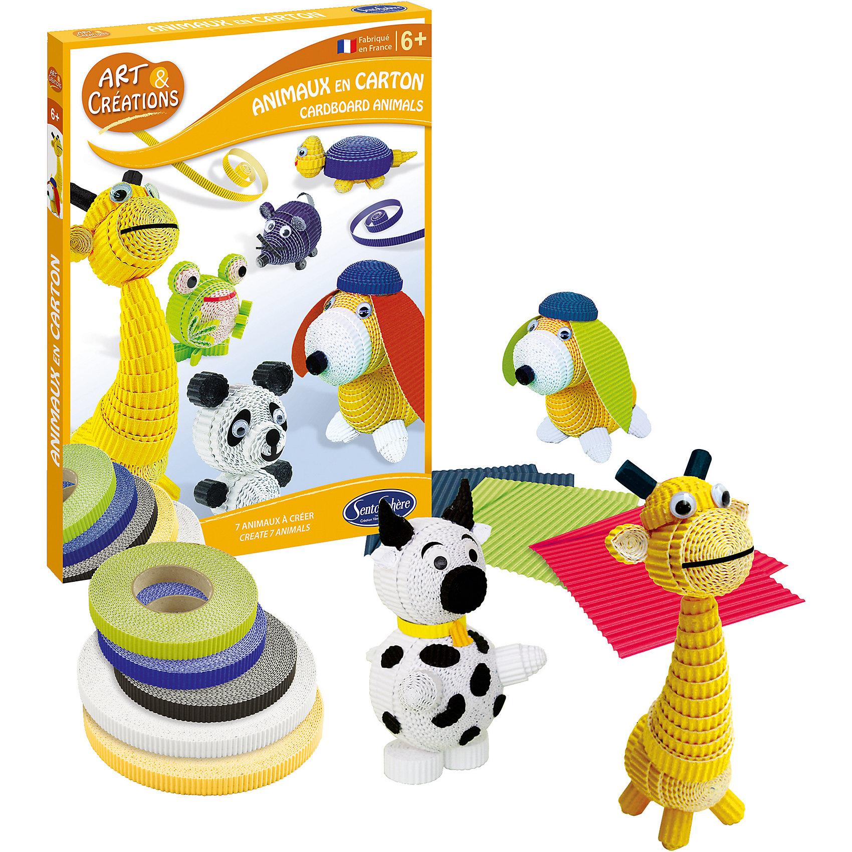 Набор для детского творчества Зверюшки из бумагиБумажные модели<br>Набор для детского творчества Зверюшки из бумаги - позволит ребенку самостоятельно создать игрушечный зоопарк из гофрированного картона.<br>В этом наборе ребенок найдет все необходимое для того, чтобы изготовить красочных и милых зверушек: собаку, черепаху, панду, лягушку, жирафа, пингвина и котенка. Благодаря ярким деталям из гофрокартона животные получатся очень красочными и необычными. Процесс склейки не сложен и увлекателен, развивает усидчивость и аккуратность ребенка.<br><br>Дополнительная информация:<br><br>- Возраст: от 6 лет<br>- Для мальчиков и девочек<br>- В наборе: гофрированный картон 5 цветов, подготовленных для создания 7 зверюшек; 20 глаз с подвижным зрачком; тюбик клея; подробная инструкция<br>- Упаковка: картонная коробка<br>- Размер упаковки: 21 х 2 х 28 см.<br><br>Набор для детского творчества Зверюшки из бумаги можно купить в нашем интернет-магазине.<br><br>Ширина мм: 282<br>Глубина мм: 213<br>Высота мм: 22<br>Вес г: 280<br>Возраст от месяцев: 72<br>Возраст до месяцев: 144<br>Пол: Унисекс<br>Возраст: Детский<br>SKU: 4918813