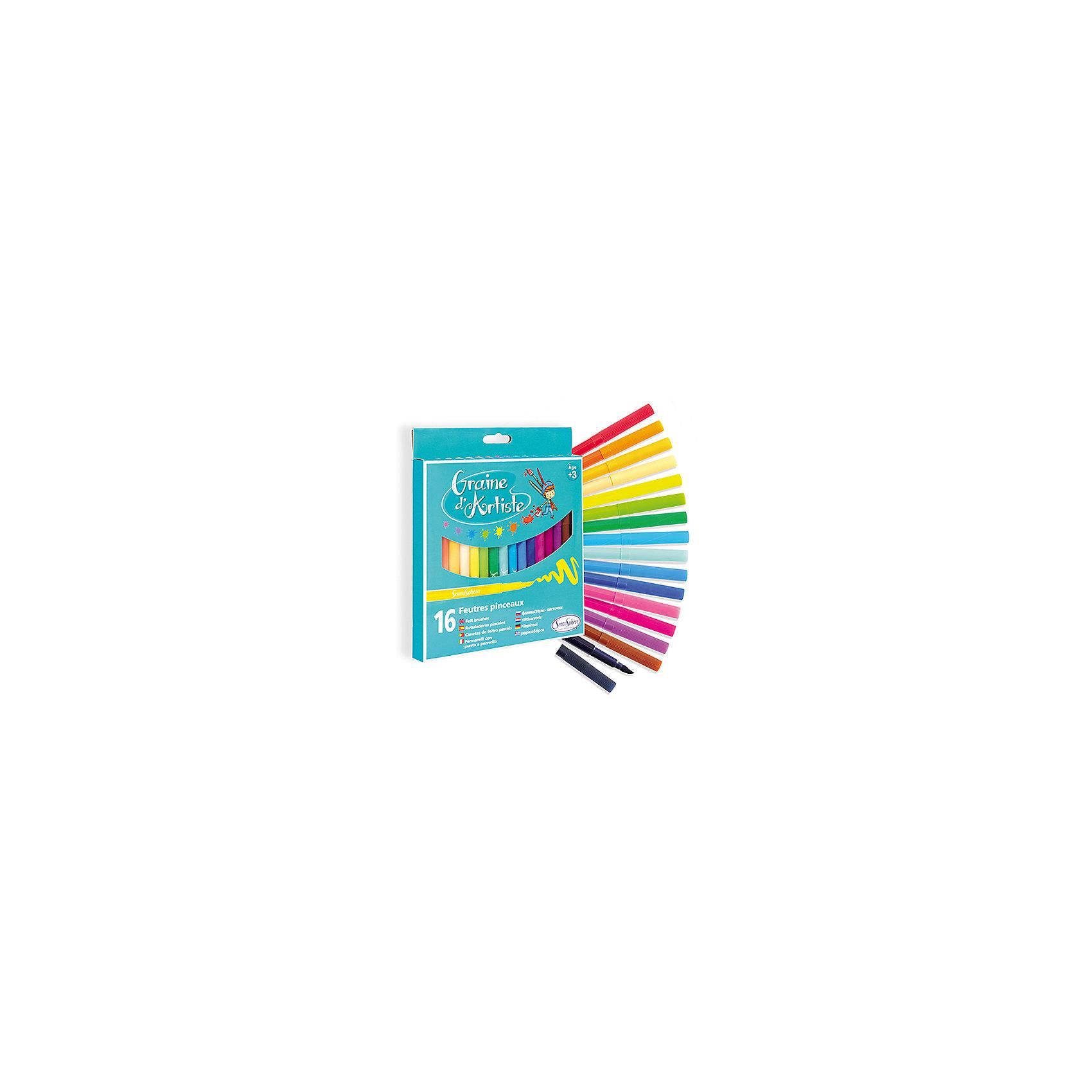 Фломастеры, 16 штФломастеры<br>Фломастеры, 16 шт <br>Фломастеры непременно порадуют юного художника. В набор входит 16 качественных фломастеров ярких цветов, подходящих для рисования на различных поверхностях. Прочный гибкий наконечник имеет особую текстуру, выдерживает большое давление и позволяет работать с фломастерами, как с кисточкой. Он оставляет насыщенный след, который можно размыть влажной кистью для создания полутонов и плавных переходов. Фломастеры легко смываются водой с рук и одежды и отмываются с бытовых поверхностей. Рисуя фломастерами, ребенок развивает воображение, творческие способности, координацию движений и мелкую моторику рук.<br><br>Дополнительная информация:<br><br>- Возраст: от 3 лет<br>- В наборе: 16 ярких разноцветных фломастеров<br>- Упаковка: картонная коробка с европодвесом<br>- Размер упаковки: 17,5х27,5х1,5 см.<br><br>Фломастеры, 16 шт можно купить в нашем интернет-магазине.<br><br>Ширина мм: 175<br>Глубина мм: 275<br>Высота мм: 15<br>Вес г: 100<br>Возраст от месяцев: 36<br>Возраст до месяцев: 192<br>Пол: Унисекс<br>Возраст: Детский<br>SKU: 4918826