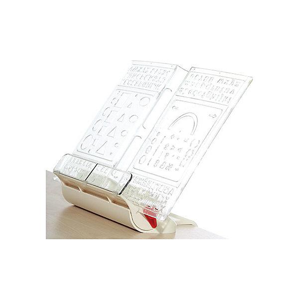 Подставка-трафарет для книг ПДК.01, Дэми, бежевыйАксессуары для парт<br>Подставка-трафарет для книг ПДК.01, Дэми, бежевый – две нужные вещи в одной.<br>Данная модель подставок удобна тем, что ее можно крепить к любому краю или установить на стол. В комплект к подставке идет съемный трафарет, который или украшает подставку, или помогает ребенку рисовать. Подставка имеет три угла наклона для удобного чтения. Нижний бортик-ограничитель прижимает страницы.<br><br>Дополнительная информация: <br><br>Размер: 330x230x60 мм <br>Вес: 500 гр<br>Материал: пластик<br>Цвет: бежевый<br><br>Подставку-трафарет для книг ПДК.01, Дэми, бежевую можно купить в нашем интернет магазине.<br><br>Ширина мм: 330<br>Глубина мм: 230<br>Высота мм: 70<br>Вес г: 500<br>Возраст от месяцев: 48<br>Возраст до месяцев: 1188<br>Пол: Унисекс<br>Возраст: Детский<br>SKU: 4919249