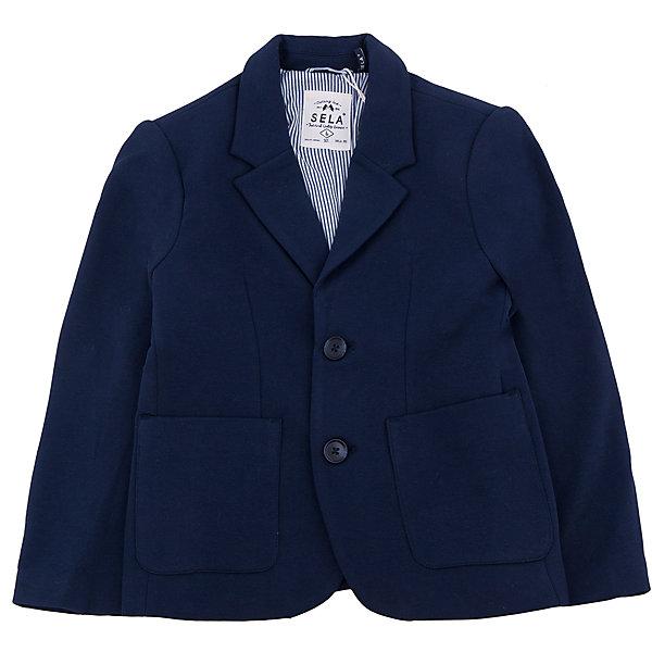 Пиджак для мальчика SELAПиджаки и костюмы<br>Классический пиджак - незаменимая вещь в гардеробе школьника. Эта модель отлично сидит на ребенке, она сделана из приятного на ощупь материала, мягкая и дышащая. Натуральный хлопок в составе ткани не вызывает аллергии и обеспечивает ребенку комфорт. Модель станет отличной базовой вещью, которая будет уместна в различных сочетаниях.<br>Одежда от бренда Sela (Села) - это качество по приемлемым ценам. Многие российские родители уже оценили преимущества продукции этой компании и всё чаще приобретают одежду и аксессуары Sela.<br><br>Дополнительная информация:<br><br>материал: 95% хлопок, 5% эластан; подкладка:65% хлопок, 35% ПЭ; подкладка рукава:100% ПЭ;<br>классический силуэт;<br>пуговицы, карманы.<br><br>Пиджак для мальчика от бренда Sela можно купить в нашем интернет-магазине.<br>Ширина мм: 190; Глубина мм: 74; Высота мм: 229; Вес г: 236; Цвет: синий; Возраст от месяцев: 60; Возраст до месяцев: 72; Пол: Мужской; Возраст: Детский; Размер: 116,170,122,128,134,140,146,152,158,164; SKU: 4919527;