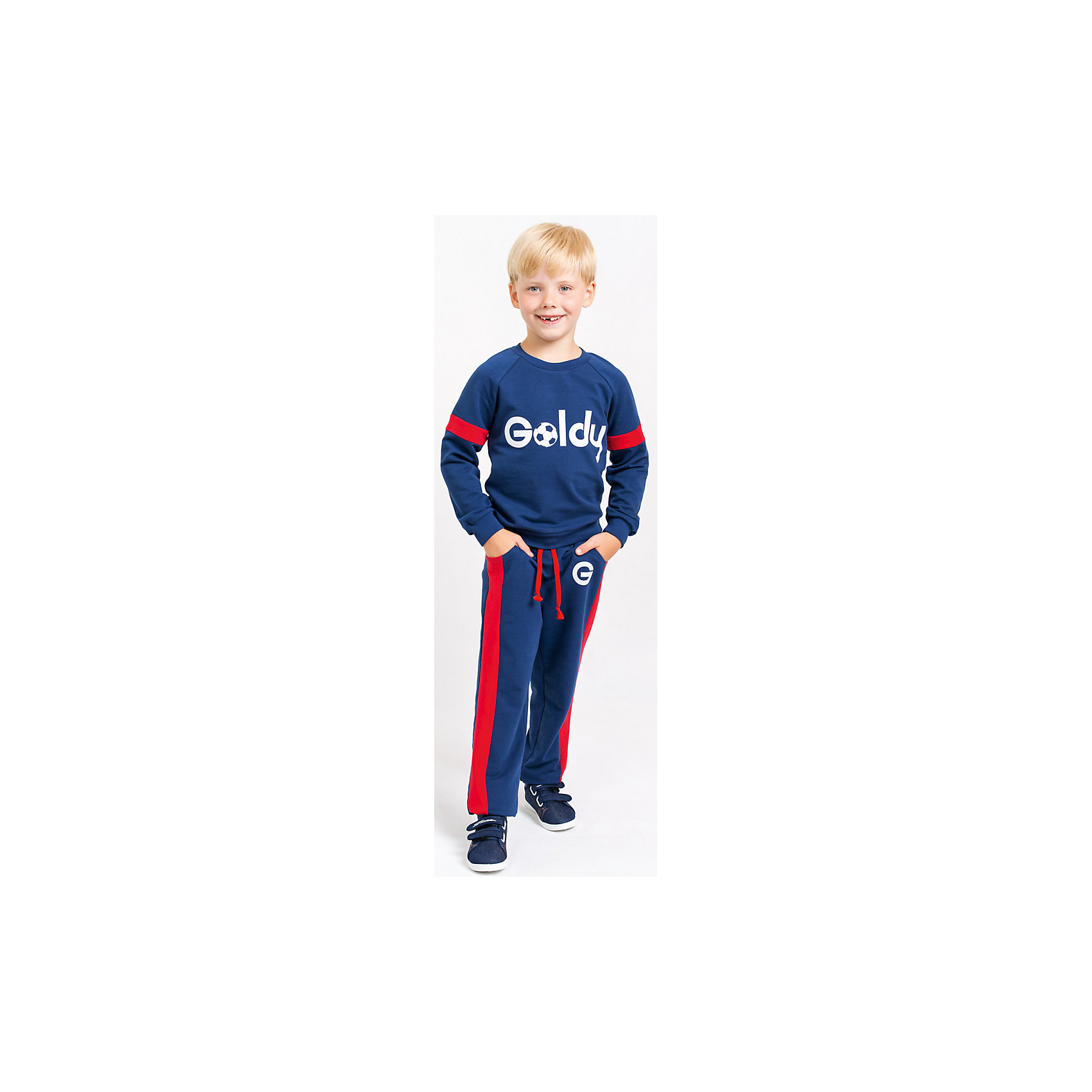 Спортивный костюм для мальчикаСпортивный костюм для мальчика от белорусской марки Goldy. Костюм состоит из толстовки и брюк с манжетами.<br>Состав:<br>футер компакт пенье (70% хлопок, 26% ПЭ, 4% лайкра)<br><br>Ширина мм: 247<br>Глубина мм: 16<br>Высота мм: 140<br>Вес г: 225<br>Цвет: синий/красный<br>Возраст от месяцев: 60<br>Возраст до месяцев: 72<br>Пол: Мужской<br>Возраст: Детский<br>Размер: 116,122,92,98,104,110<br>SKU: 4921132