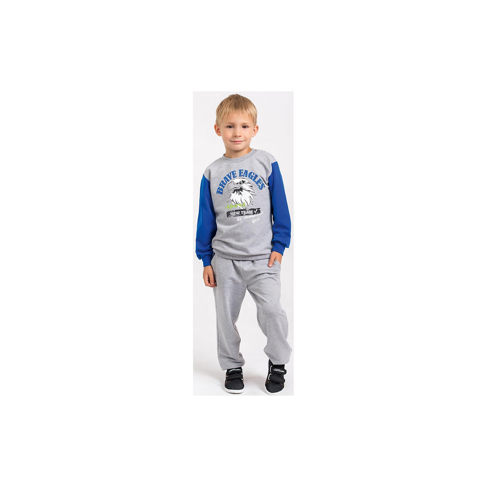 Спортивный костюм для мальчика GoldyКомплекты<br>Спортивный костюм для мальчика от белорусской марки Goldy. Костюм состоит из толстовки и брюк с манжетами.<br>Состав:<br>футер компакт пенье (70% хлопок, 26% ПЭ, 4% лайкра)<br><br>Ширина мм: 247<br>Глубина мм: 16<br>Высота мм: 140<br>Вес г: 225<br>Цвет: серо-синий<br>Возраст от месяцев: 18<br>Возраст до месяцев: 24<br>Пол: Мужской<br>Возраст: Детский<br>Размер: 92,98,104,110,116,122<br>SKU: 4921153