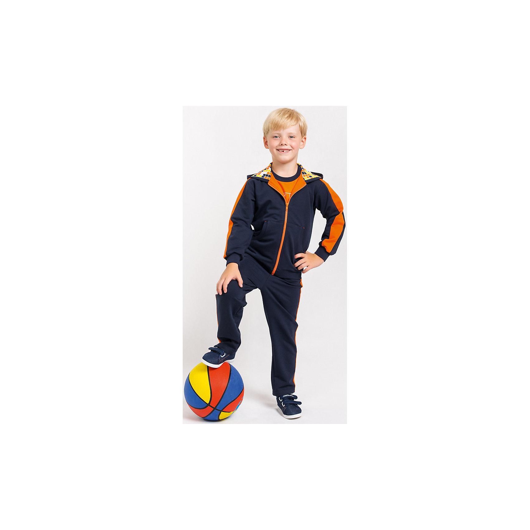 Спортивный костюм для мальчикаСпортивный костюм для мальчика от белорусской марки Goldy. Костюм состоит из толстовки с капюшоном и брюк.<br>Состав:<br>футер компакт пенье (70% хлопок, 26% ПЭ, 4% лайкра)<br><br>Ширина мм: 247<br>Глубина мм: 16<br>Высота мм: 140<br>Вес г: 225<br>Цвет: синий/оранжевый<br>Возраст от месяцев: 60<br>Возраст до месяцев: 72<br>Пол: Мужской<br>Возраст: Детский<br>Размер: 116,110,104,98,128,122<br>SKU: 4921181