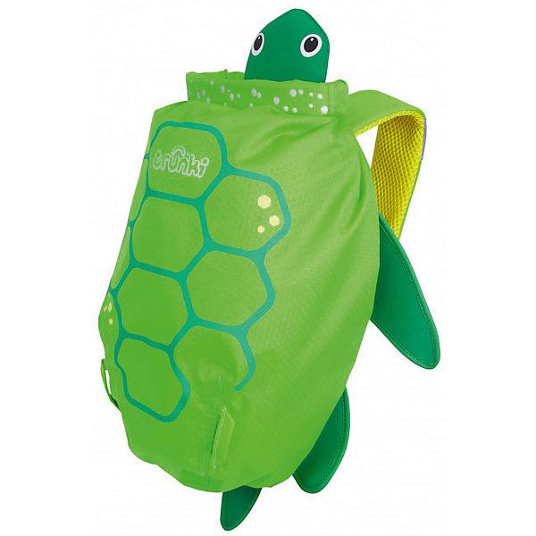 Рюкзак для бассейна и пляжа ЧерепахаДорожные сумки и чемоданы<br>Рюкзак для бассейна и пляжа Черепаха – это верный спутник вашего ребенка в бассейне или на пляже.<br>Яркий водонепроницаемый рюкзак для бассейна и пляжа выполнен в виде зеленой черепахи с лапками, головой и панцирем. Благодаря размеру он идеально подходит для раздевалок в бассейне или в школе. Спинка рюкзака выполнена из сетчатой дышащей ткани air mesh, поэтому даже самые жаркие летние дни спина ребенка не будет потеть. Широкие плечевые лямки регулируются по длине. На одной из лямок рюкзака находится специальное силиконовое крепление с отверстием для солнечных очков. Рюкзак изготовлен из легкого прочного водоотталкивающего материала, который легко поддается чистке и стирке. Внутри рюкзака одно вместительное отделение, изготовленное из такой же водонепроницаемой ткани, что и сам рюкзак. Все швы и соединительные элементы проклеены, для надежности и защиты от протекания. Имеется место для контактной информации маленького владельца. Уникальное крепление-застежка top roll защитит содержимое рюкзака от воды. Три оборота, и горловина рюкзака плотно закрыта и зафиксирована! Для ценных вещей имеется дополнительный потайной водонепроницаемый кармашек. По всей площади рюкзака предусмотрены светоотражающие элементы, отвечающие за безопасность ребенка в темное время суток.<br><br>Дополнительная информация:<br><br>- Возраст: от 3 лет<br>- Для мальчиков и девочек<br>- Цвет: зеленый.<br>- Материал: текстиль, пластик.<br>- Размер рюкзака: 49 х 41 х 10 см.<br>- Вес: 180 гр.<br><br>Рюкзак для бассейна и пляжа Черепаха можно купить в нашем интернет-магазине.<br>Ширина мм: 370; Глубина мм: 290; Высота мм: 170; Вес г: 170; Возраст от месяцев: 24; Возраст до месяцев: 168; Пол: Унисекс; Возраст: Детский; SKU: 4921555;