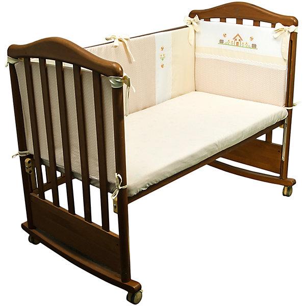 Борт в кроватку Кантри, Сонный гномик, бежевыйПостельное белье в кроватку новорождённого<br>Бортик в кроватку Кантри, Сонный гномик, бежевый предназначен для обеспечения безопасности пребывания ребенка в кроватке во время сна или бодрствования. Защищает ребенка от ударов и сквозняков. Бортик для кроватки Кантри состоит из четырех частей для всех сторон кроватки размером 120*60 см. Каждый элемент крепится за счет завязок. Изделие выполнено из высококачественного сатина, в качестве наполнителя использован холлофайбер, который обладает высокой воздухопроницаемостью, водоотталкивающими и гипоаллергенными свойствами. Изделие долгое время сохраняет форму, достаточно легкое в уходе. Изделие выполнено в нежном бежевом цвете, украшено стилизованным под вышивку крестиком принтом селького домика.   <br>Борт в кроватку Кантри, Сонный гномик, бежевый обеспечит ребенку крепкий, здоровый и безопасный сон. <br><br>Дополнительная информация:<br><br>- Предназначение: для детской кроватки<br>- Материал: сатин<br>- Наполнитель: холлофайбер<br>- Пол: для мальчика/для девочки<br>- Цвет: бежевый, белый<br>- Размеры упаковки (Д*Ш*В): 65*15*40 см<br>- Вес: 1 кг 10 г<br>- Особенности ухода: разрешается стирка при температуре не более 40 градусов<br><br>Подробнее:<br><br>• Для детей в возрасте от 0 месяцев и до 4 лет<br>• Страна производитель: Россия<br>• Торговый бренд: Leader kids<br><br>Борт в кроватку Кантри, Сонный гномик, бежевый можно купить в нашем интернет-магазине.<br>Ширина мм: 650; Глубина мм: 150; Высота мм: 400; Вес г: 1010; Возраст от месяцев: 0; Возраст до месяцев: 48; Пол: Унисекс; Возраст: Детский; SKU: 4922727;