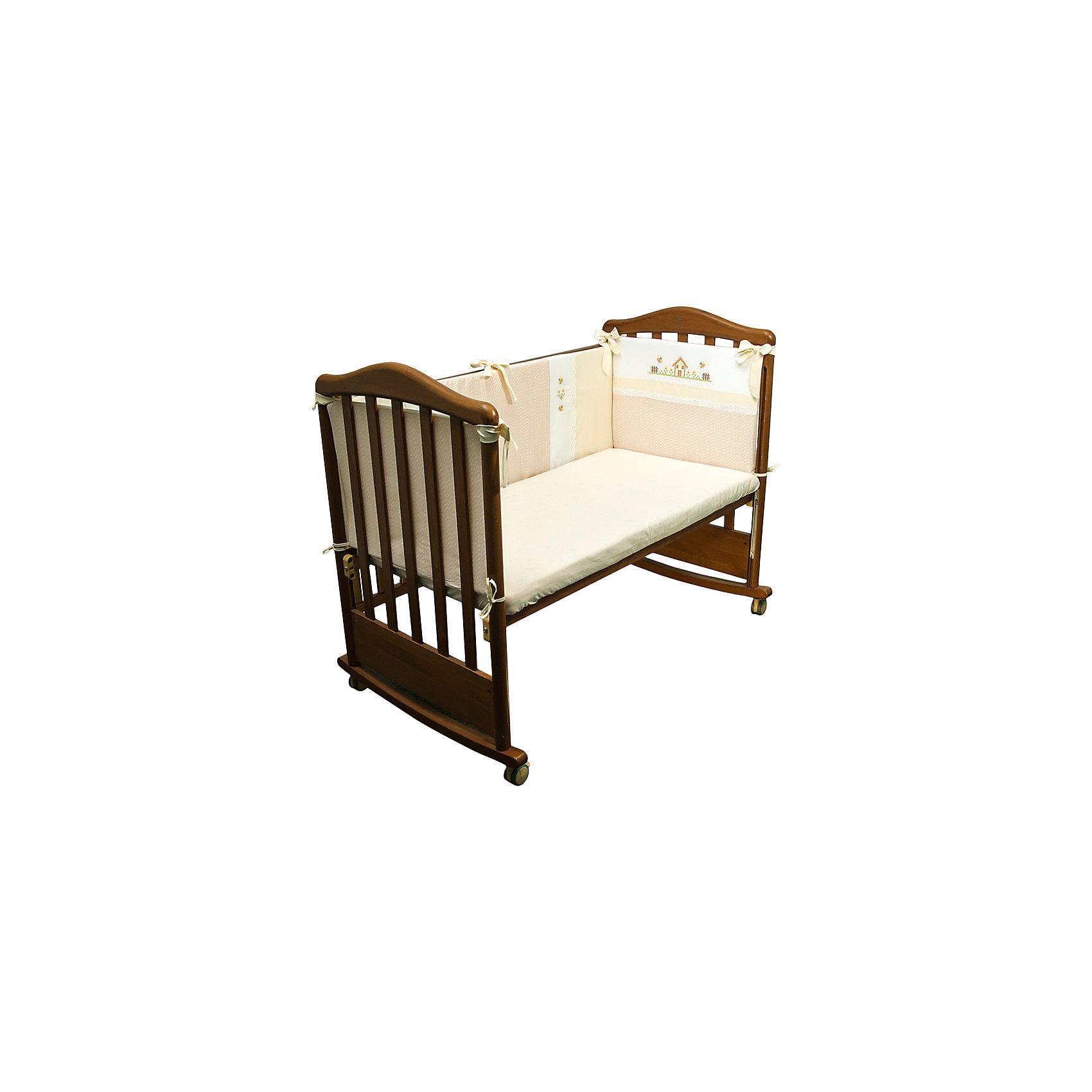 Борт в кроватку Кантри, Сонный гномик, бежевыйПостельное бельё<br>Бортик в кроватку Кантри, Сонный гномик, бежевый предназначен для обеспечения безопасности пребывания ребенка в кроватке во время сна или бодрствования. Защищает ребенка от ударов и сквозняков. Бортик для кроватки Кантри состоит из четырех частей для всех сторон кроватки размером 120*60 см. Каждый элемент крепится за счет завязок. Изделие выполнено из высококачественного сатина, в качестве наполнителя использован холлофайбер, который обладает высокой воздухопроницаемостью, водоотталкивающими и гипоаллергенными свойствами. Изделие долгое время сохраняет форму, достаточно легкое в уходе. Изделие выполнено в нежном бежевом цвете, украшено стилизованным под вышивку крестиком принтом селького домика.   <br>Борт в кроватку Кантри, Сонный гномик, бежевый обеспечит ребенку крепкий, здоровый и безопасный сон. <br><br>Дополнительная информация:<br><br>- Предназначение: для детской кроватки<br>- Материал: сатин<br>- Наполнитель: холлофайбер<br>- Пол: для мальчика/для девочки<br>- Цвет: бежевый, белый<br>- Размеры упаковки (Д*Ш*В): 65*15*40 см<br>- Вес: 1 кг 10 г<br>- Особенности ухода: разрешается стирка при температуре не более 40 градусов<br><br>Подробнее:<br><br>• Для детей в возрасте от 0 месяцев и до 4 лет<br>• Страна производитель: Россия<br>• Торговый бренд: Leader kids<br><br>Борт в кроватку Кантри, Сонный гномик, бежевый можно купить в нашем интернет-магазине.<br><br>Ширина мм: 650<br>Глубина мм: 150<br>Высота мм: 400<br>Вес г: 1010<br>Возраст от месяцев: 0<br>Возраст до месяцев: 48<br>Пол: Унисекс<br>Возраст: Детский<br>SKU: 4922727