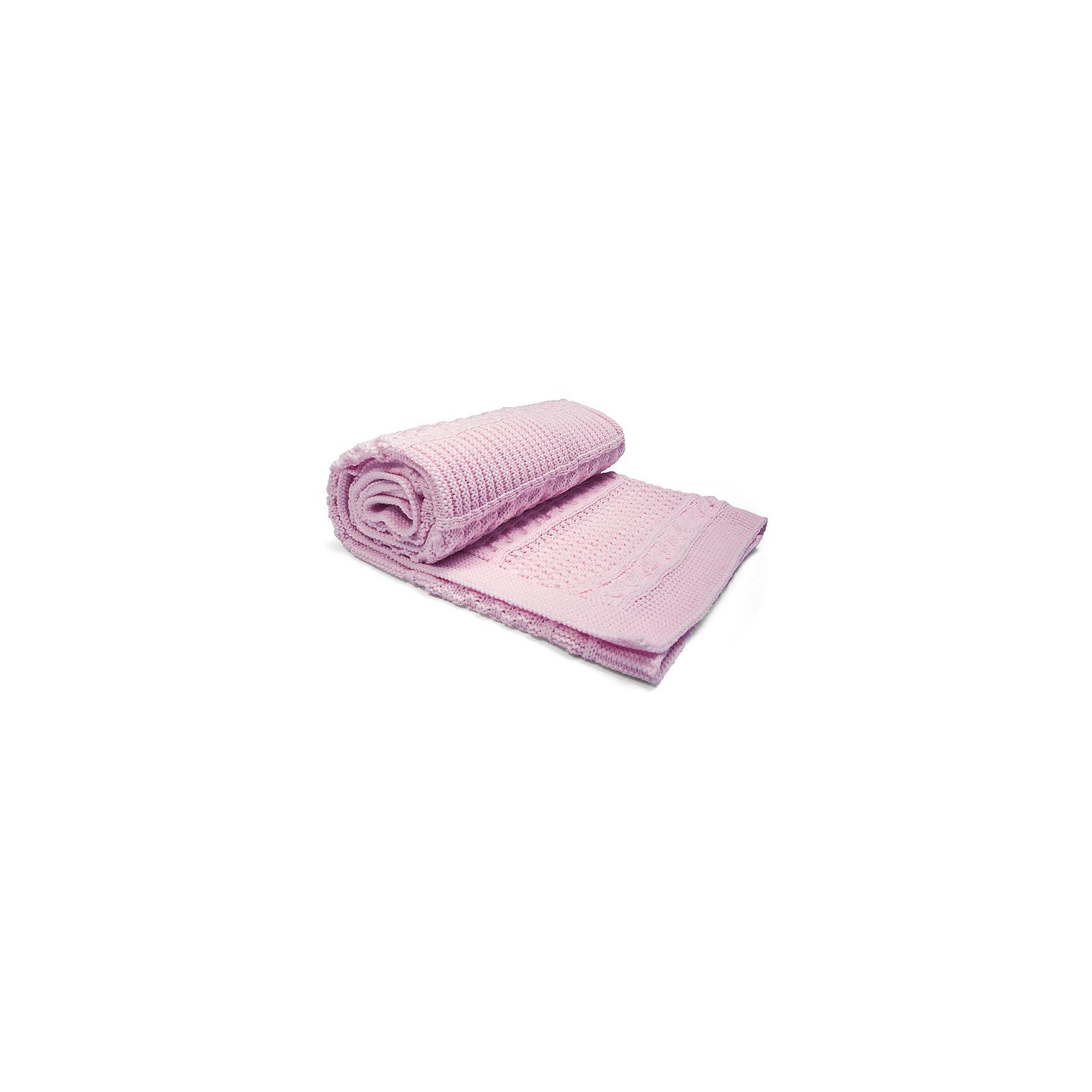 Плед вязаный Маленькое счастье, Сонный гномик, розовый
