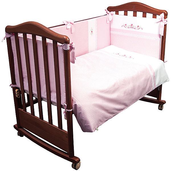 Постельное белье Прованс 6 пред, Сонный гномик, розовыйПостельное белье в кроватку новорождённого<br>Характеристики:<br><br>• Вид детского текстиля: постельное белье<br>• Тип постельного белья по размерам: детское<br>• Пол: для девочки<br>• Серия: Прованс<br>• Тематика рисунка: цветы<br>• Сезон: круглый год<br>• Материал: сатин (хлопок 100%); наполнитель подушки и одеяла – бамбуковое волокно; бортики – холлофайбер Хард<br>• Цвет: розовый, белый, зеленый<br>• Комплектация: <br> пододеяльник – 1 шт. 110*140 см <br> простынь – 1 шт. 100*140 см<br> наволочка – 1 шт. 40*60 см<br> подушка – 1 шт. 40*60 см<br> одеяло – 1 шт. 110*140 см <br> бортики – 4 части 360*38 см <br>• Упаковка: полиэтилен <br>• Вес в упаковке: 3 кг 130 г<br>• Особенности ухода: машинная стирка при температуре 30 градусов<br><br>Постельное белье Прованс 6 пред., Сонный гномик, розовый от отечественного торгового бренда выполнено с учетом международных требований к качеству и безопасности товаров для детей. Комплект предназначен для детских кроваток, спальное место которых составляет не менее 120*60 см. В состав комплекта входит одеяло, подушка, простынь, наволочка и пододеяльник. Все изделия выполнены из 100% хлопка с повышенными качественными характеристиками: гигроскопичное, гипоаллергенное, устойчивое к изменению цвета и формы, а также к изминанию, что наиболее важно для детского постельного белья. Простынь и пододеяльник изготовлены из цельного полотна, боковые швы – закрытые, что обеспечивает их прочность и надежность. В качестве наполнителя для подушки и одеяла использовано бамбуковое волокно, для бортиков – холлофайбер типа Хард. Бортики состоят из четырех частей, к кровати крепятся с помощью завязок. Комплект выполнен в нежном розовом цвете, украшен цветочным орнаментом и декорирован кружевом из шитья. <br>Постельное белье Прованс 6 пред., Сонный гномик, розовый – детское постельное белье, которое создает уютную и спокойную атмосферу для крепкого детского сна! <br><br>Постельное белье Прованс 