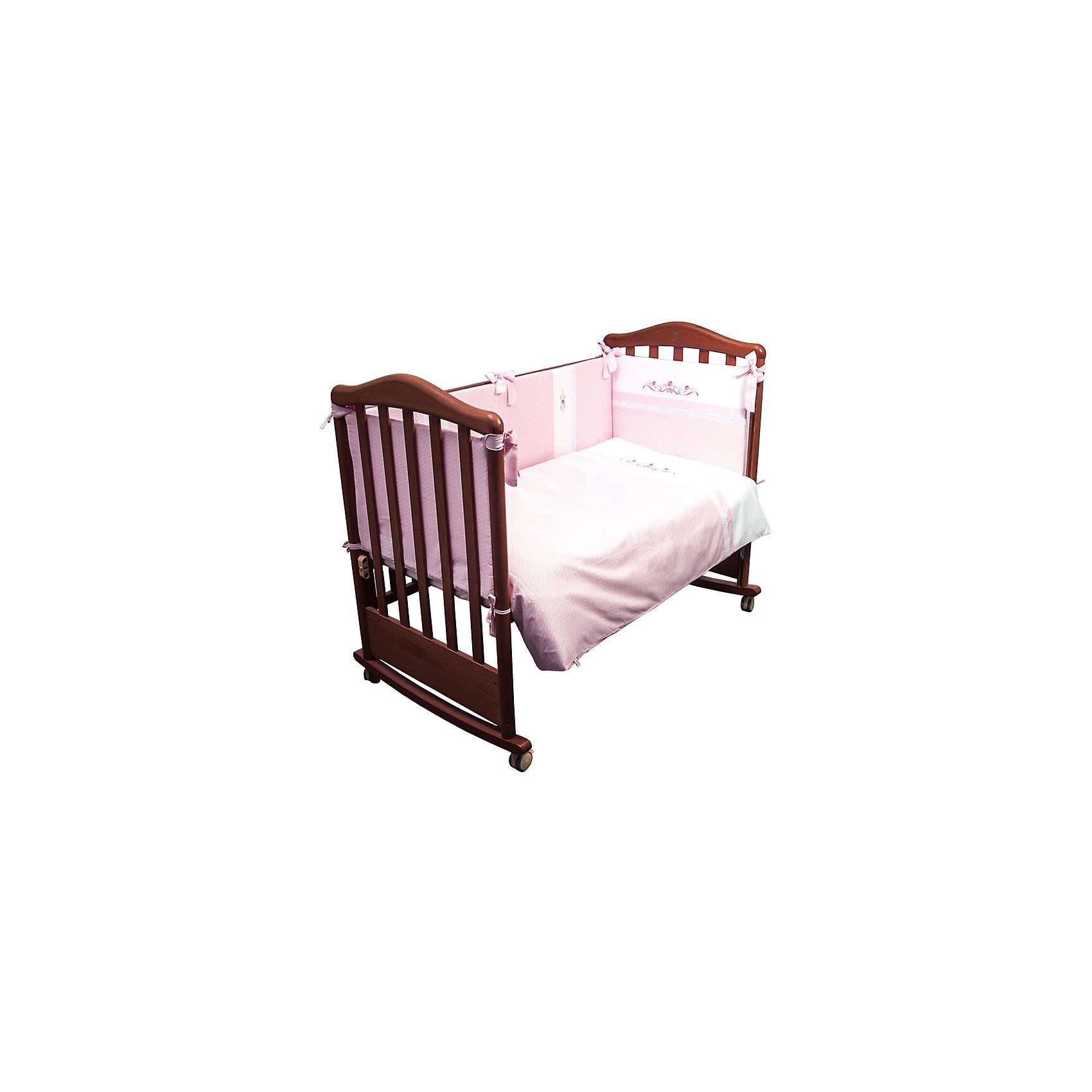 Постельное белье Прованс 6 пред, Сонный гномик, розовыйПостельное белье Прованс 6 предм., Сонный гномик состоит из постельных принадлежностей, необходимых для детской кроватки: одеяло, подушка, простынь, пододеяльник, наволочка и бортики. Комплект подходит для кроваток любого типа   стандартного размера 120*60 см. Все изделия комплекта выполнены из сатина высокого качества, который обладает устойчивостью к деформации и изменению цвета, даже при частых стирках не образуются потертости и катышки. В одеяле и подушке в качестве наполнителя использован холлофайбер, который обладает высокой воздухопроницаемостью, водоотталкивающими и гипоаллергенными свойствами. Бортик для кроватки состоит из четырех частей, которые крепятся за счет завязок. Комплект выполнен в нежном розовом цвете, украшен принтом из цветочного орнамента.   <br>Постельное белье Прованс 6 предм., Сонный гномик, розовый обеспечит ребенку крепкий, здоровый и безопасный сон. <br><br>Дополнительная информация:<br><br>- Предназначение: для детской кроватки<br>- Комплектация: одеяло и пододеяльник (110*140 см), подушка и наволочка (40*60 см), простынь (100*140 см), бортики из четырех частей<br>- Материал: сатин<br>- Наполнитель: холлофайбер<br>- Пол: для девочки<br>- Цвет: розовый, белый<br>- Размеры упаковки (Д*Ш*В): 65*20*50 см<br>- Вес: 3 кг 120 г<br>- Особенности ухода: разрешается стирка при температуре не более 40 градусов<br><br>Подробнее:<br><br>• Для детей в возрасте от 0 месяцев и до 4 лет<br>• Страна производитель: Россия<br>• Торговый бренд: Leader kids<br><br>Постельное белье Прованс 6 предм., Сонный гномик, розовый можно купить в нашем интернет-магазине.<br><br>Ширина мм: 650<br>Глубина мм: 200<br>Высота мм: 500<br>Вес г: 3120<br>Возраст от месяцев: 0<br>Возраст до месяцев: 48<br>Пол: Женский<br>Возраст: Детский<br>SKU: 4922747