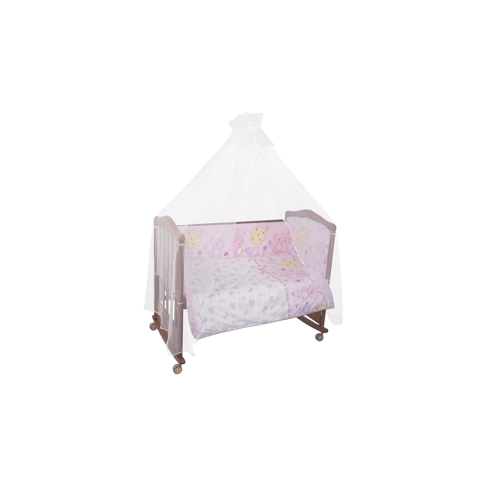 Постельное белье Акварель 7 пред, Сонный гномик, розовыйПостельное белье Акварель 7 предм., Сонный гномик, розовый состоит из постельных принадлежностей, необходимых для детской кроватки: одеяло, подушка, простынь, пододеяльник, наволочка, бортики и балдахин. Комплект подходит для кроваток любого типа стандартного размера 120*60 см. Все изделия комплекта выполнены из бязи высокого качества, которая сохраняет длительное время цвет и форму даже при частых стирках. Кроме того, бязь является экологически безопасным материалом, что делает ее незаменимой для изготовления постельного белья для детей всех возрастов.  В одеяле и подушке в качестве наполнителя использован холлофайбер, который обладает высокой воздухопроницаемостью, водоотталкивающими и гипоаллергенными свойствами. Бортик для кроватки состоит из четырех частей, которые крепятся за счет завязок. Балдахин выполнен из тончайшей сетки. Комплект выполнен в нежном розовом цвете, украшен традиционным принтом детской тематики: медвежата, зайчата и птички.   <br>Постельное белье Акварель 7 предм., Сонный гномик, розовый обеспечит ребенку крепкий, здоровый и безопасный сон. <br><br>Дополнительная информация:<br><br>- Предназначение: для детской кроватки<br>- Комплектация: одеяло и пододеяльник (110*140 см), подушка и наволочка (40*60 см), простынь (100*140 см), бортики из четырех частей и балдахин (4 м)<br>- Материал: бязь<br>- Наполнитель: холлофайбер<br>- Пол: для девочки<br>- Цвет: розовый, желтый, сиреневый<br>- Размеры упаковки (Д*Ш*В): 64*20*50 см<br>- Вес: 3 кг 400 г<br>- Особенности ухода: разрешается стирка при температуре не более 40 градусов<br><br>Подробнее:<br><br>• Для детей в возрасте от 0 месяцев и до 4 лет<br>• Страна производитель: Россия<br>• Торговый бренд: Leader kids<br><br>Постельное белье Акварель 7 предм., Сонный гномик, розовый можно купить в нашем интернет-магазине.<br><br>Ширина мм: 650<br>Глубина мм: 200<br>Высота мм: 500<br>Вес г: 3400<br>Возраст от месяцев: 0<br>Возраст до месяцев: 48<br>П