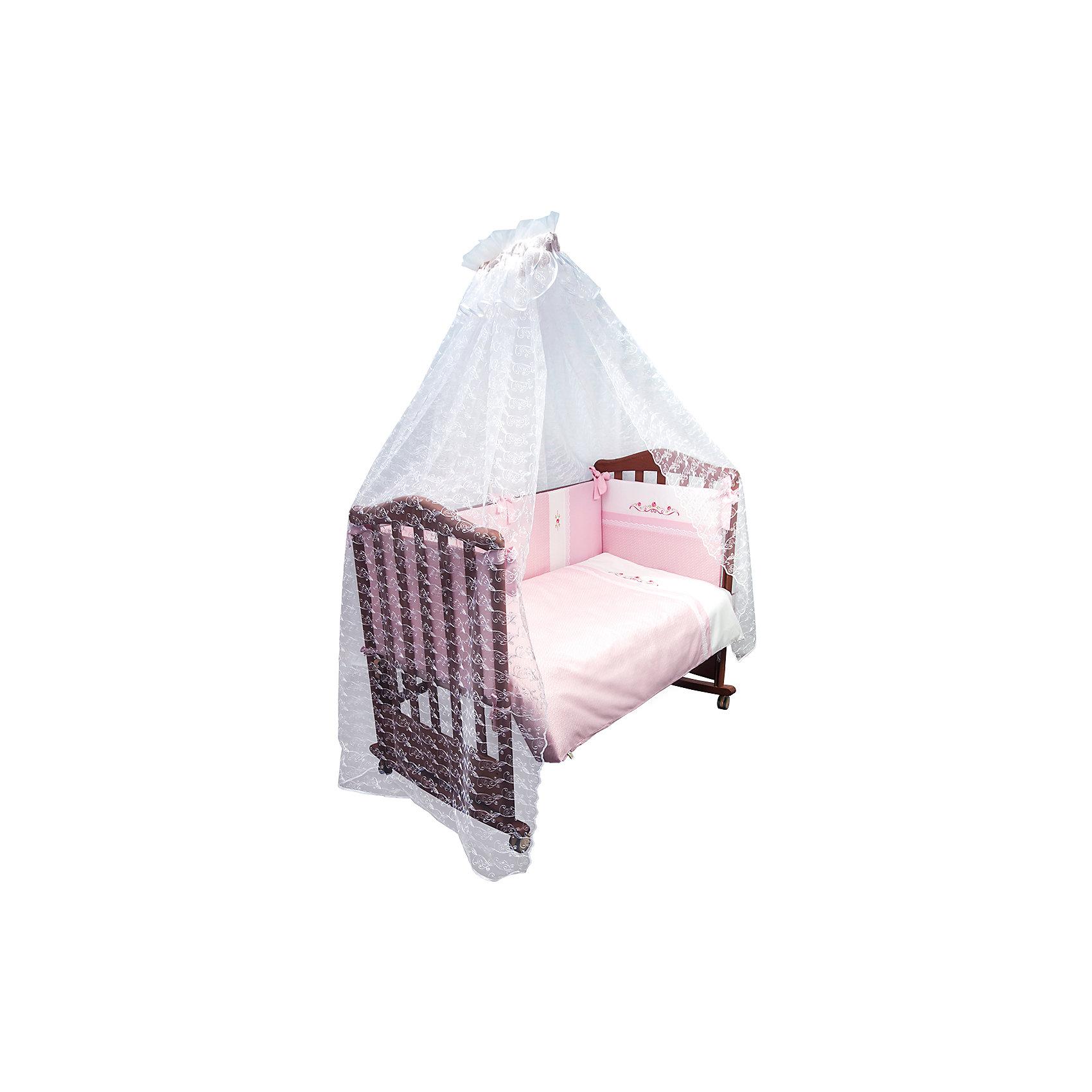 Постельное белье Прованс 7 пред, Сонный гномик, розовыйПостельное белье Прованс 7 предм., Сонный гномик, розовый состоит из постельных принадлежностей, необходимых для детской кроватки: одеяло, подушка, простынь, пододеяльник, наволочка, бортики и балдахин. Комплект подходит для кроваток любого типа стандартного размера 120*60 см. Все изделия комплекта выполнены из сатина высокого качества, который обладает устойчивостью к деформации и изменению цвета, даже при частых стирках не образуются потертости и катышки. В одеяле и подушке в качестве наполнителя использован холлофайбер, который обладает высокой воздухопроницаемостью, водоотталкивающими и гипоаллергенными свойствами. Бортик для кроватки состоит из четырех частей, которые крепятся за счет завязок. Комплект выполнен в розовом цвете, украшен цветочным орнаментом.   <br>Постельное белье Прованс 7 предм., Сонный гномик, розовый обеспечит ребенку крепкий, здоровый и безопасный сон. <br><br>Дополнительная информация:<br><br>- Предназначение: для детской кроватки<br>- Комплектация: одеяло и пододеяльник (110*140 см), подушка и наволочка (40*60 см), простынь (100*140 см), бортики из четырех частей, балдахин (4 м)<br>- Материал: сатин, полиэстер (балдахин)<br>- Наполнитель: холлофайбер<br>- Пол: для девочки<br>- Цвет: розовый, белый<br>- Размеры упаковки (Д*Ш*В): 65*20*50 см<br>- Вес: 3 кг 500 г<br>- Особенности ухода: разрешается стирка при температуре не более 40 градусов<br><br>Подробнее:<br><br>• Для детей в возрасте от 0 месяцев и до 4 лет<br>• Страна производитель: Россия<br>• Торговый бренд: Leader kids<br><br>Постельное белье Прованс 7 предм., Сонный гномик, розовый можно купить в нашем интернет-магазине.<br><br>Ширина мм: 650<br>Глубина мм: 200<br>Высота мм: 500<br>Вес г: 3500<br>Возраст от месяцев: 0<br>Возраст до месяцев: 48<br>Пол: Женский<br>Возраст: Детский<br>SKU: 4922759