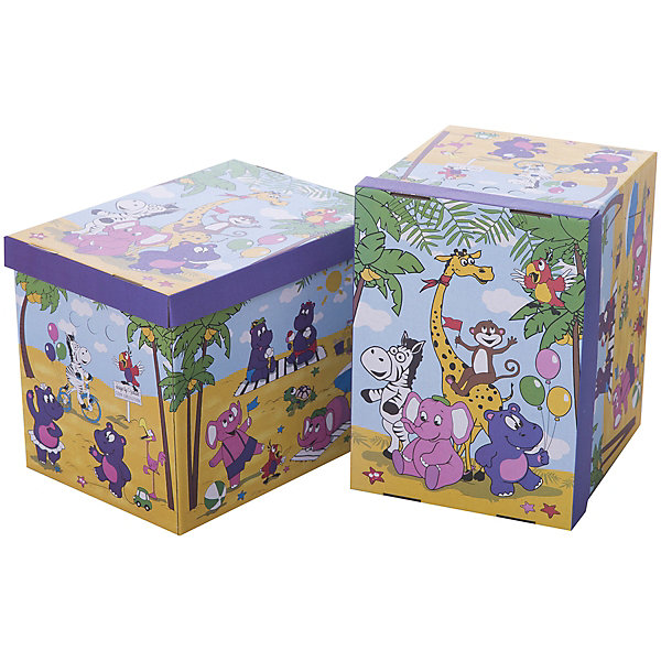 Короб картонный складной Веселая Африка, 2 шт, большойЯщики для игрушек<br>Короб картонный складной Веселая Африка, 2 шт, большой – яркое и красивое решение проблемы хранения вещей. <br>В комплект входят две большие коробки с ярким дизайном. Идеально вписываются в детскую благодаря красочным рисункам. Сделаны из экологичного материала, поэтому полностью безопасны для детей. Прочная конструкция легко собирается. Подходят для хранения книг, игрушек, одежды, обуви и других вещей. С двух сторон есть ручки для удобного переноса коробок. Крышка сверху прячет вещи от пыли и грязи. <br><br>Дополнительная информация: <br><br>- 2 штуки<br>- размер: 28х38х31.5 см<br>- материал: гофрокартон<br><br>Короб картонный складной Веселая Африка, 2 шт, большой можно купить в нашем интернет магазине.<br><br>Ширина мм: 280<br>Глубина мм: 380<br>Высота мм: 315<br>Вес г: 630<br>Возраст от месяцев: 36<br>Возраст до месяцев: 144<br>Пол: Унисекс<br>Возраст: Детский<br>SKU: 4923428
