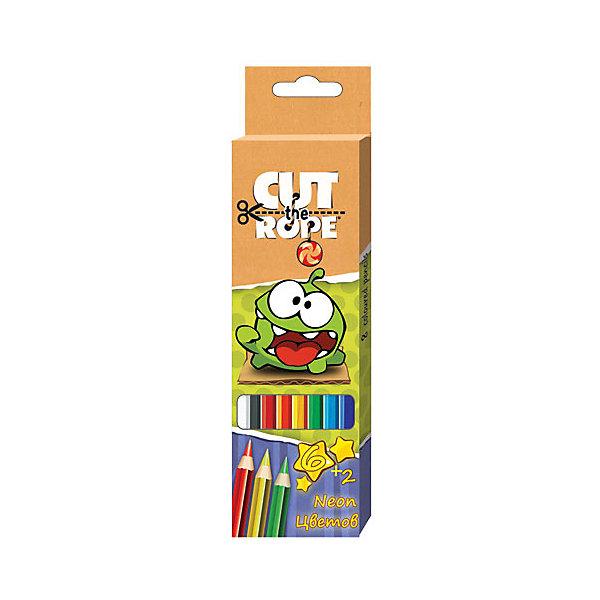 Карандаши цветные 6 шт + 2шт неоновыеКарандаши для творчества<br>070554 Карандаши цветные 6+2Neon Cut the Rope – это прекрасный набор для детского творчества.<br>Цветные карандаши 6 цветов +2 цвета Neon Cut the Rope идеально подходят для рисования, письма и раскрашивания. Высококачественные пигменты обеспечат яркость и мягкость письма. Дополнительные добавки пластификаторы гарантируют, что грифель не сломается при заточке и не раскрошится внутри корпуса, если ребёнок нечаянно уронит карандаш на пол. Корпус карандашей изготовлен из пластика. С помощью этих карандашей ребенок будет увлеченно создавать свои маленькие произведения искусства, развивая воображение, мелкую моторику, координацию движений, цветовосприятие и усидчивость.<br><br>Дополнительная информация:<br><br>- Количество цветов: 8<br>- Длина корпуса карандаша: 175 мм.<br>- Диаметр грифеля: 3 мм.<br>- Шестигранная форма<br>- Материал корпуса: пластик<br>- Упаковка: водостойкая коробка из ламинированного картона с европодвесом<br>- Размер упаковки: 18х5х0,5 см.<br><br>070554 Карандаши цветные 6+2Neon Cut the Rope можно купить в нашем интернет-магазине.<br><br>Ширина мм: 210<br>Глубина мм: 9<br>Высота мм: 60<br>Вес г: 54<br>Возраст от месяцев: 48<br>Возраст до месяцев: 96<br>Пол: Унисекс<br>Возраст: Детский<br>SKU: 4923453