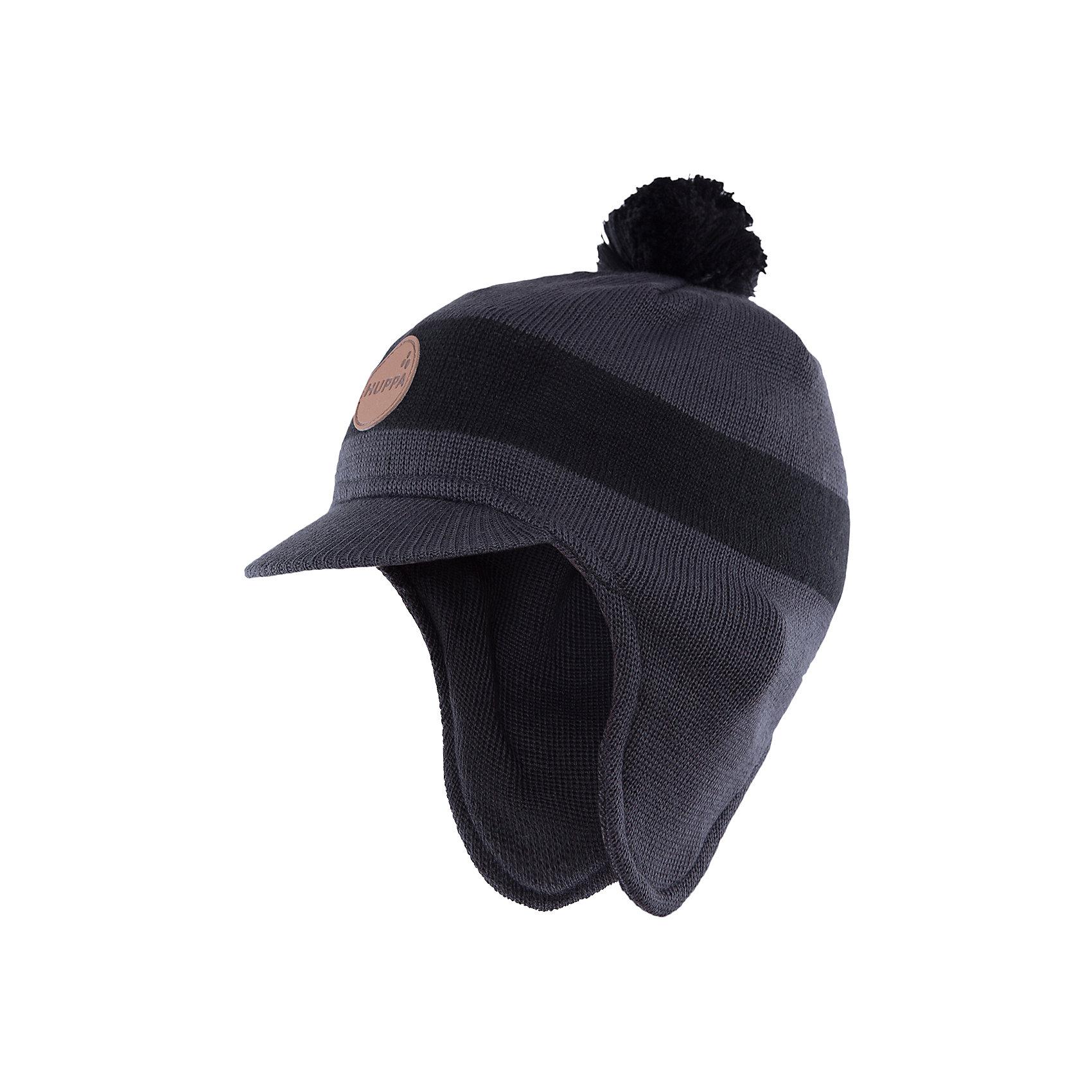 Шапка  HuppaГоловные уборы<br>Шапка Peak с козырьком от Huppa(Хуппа) надежно сохранит тепло для вашего ребенка. Она изготовлена из шерсти и акрила, с подкладкой из натурального хлопка. Удлиненные бока и козырек защитят малыша от мороза и ветра. Шапка украшена помпоном и эмблемой фирмы. Прекрасно подойдет для холодной погоды.<br><br>Дополнительная информация:<br>Цвет: темно-серый<br>Материал: 30% шерсть мериноса, 70% акрил<br>Подкладка: 100% хлопок<br><br>Шапку с козырьком Huppa(Хуппа) вы можете купить в нашем интернет-магазине.<br><br>Ширина мм: 89<br>Глубина мм: 117<br>Высота мм: 44<br>Вес г: 155<br>Цвет: серый<br>Возраст от месяцев: 12<br>Возраст до месяцев: 24<br>Пол: Мужской<br>Возраст: Детский<br>Размер: 47-49,55-57,51-53<br>SKU: 4923557