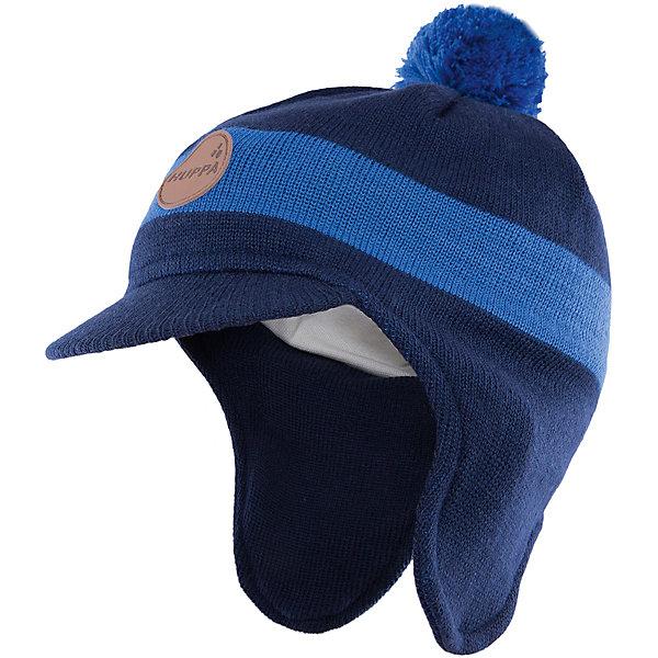 Шапка  HuppaГоловные уборы<br>Шапка Peak с козырьком от Huppa(Хуппа) надежно сохранит тепло для вашего ребенка. Она изготовлена из шерсти и акрила, с подкладкой из натурального хлопка. Удлиненные бока и козырек защитят малыша от мороза и ветра. Шапка украшена помпоном и эмблемой фирмы. Прекрасно подойдет для холодной погоды.<br><br>Дополнительная информация:<br>Цвет: синий/темно-синий<br>Материал: 30% шерсть мериноса, 70% акрил<br>Подкладка: 100% хлопок<br><br>Шапку с козырьком Huppa(Хуппа) вы можете купить в нашем интернет-магазине.<br><br>Ширина мм: 89<br>Глубина мм: 117<br>Высота мм: 44<br>Вес г: 155<br>Цвет: синий<br>Возраст от месяцев: 12<br>Возраст до месяцев: 24<br>Пол: Мужской<br>Возраст: Детский<br>Размер: 55-57,51-53,47-49<br>SKU: 4923561