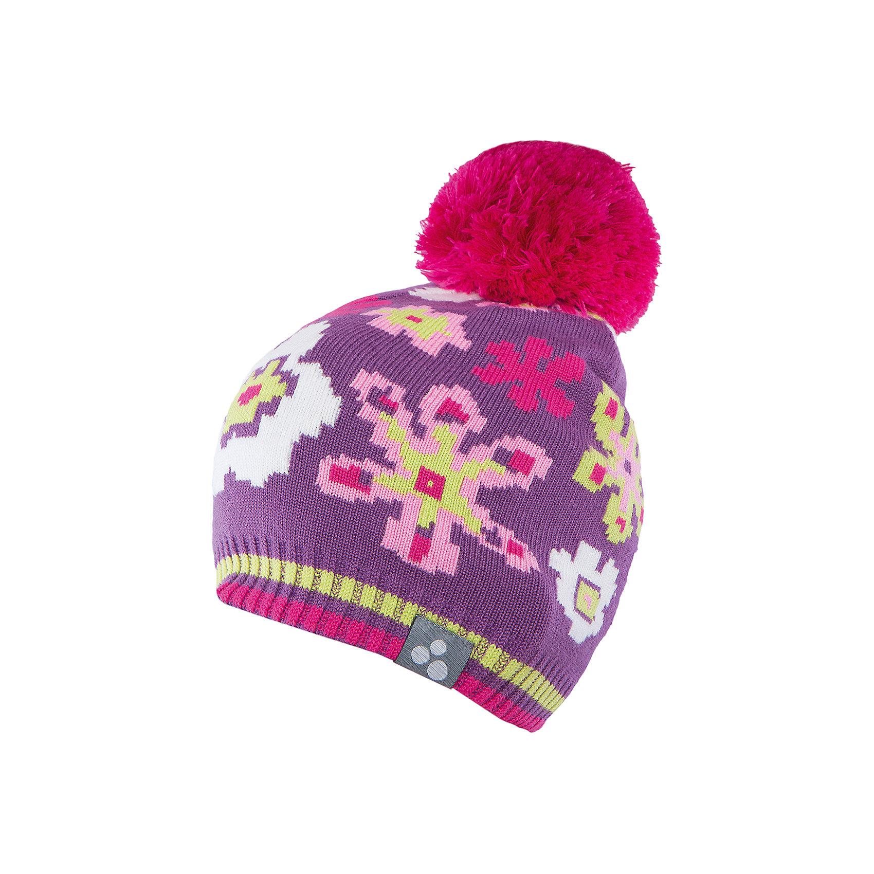 Шапка для девочки HuppaЯркая вязаная шапка Huppa Floral изготовлена из шерсти мериноса и акрила и способна согреть даже при сильном морозе. Шапка украшена ярким цветочным орнаментом, помпоном. Снизу вы найдете светоотражательные элементы. Превосходный выбор для юных модниц и модников!<br><br>Дополнительная информация:<br>Цвет: лиловая<br>Материал: 50% шерсть мериноса, 50% акрил<br><br>Шапку Huppa Floral можно приобрести в нашем интернет-магазине.<br><br>Ширина мм: 89<br>Глубина мм: 117<br>Высота мм: 44<br>Вес г: 155<br>Цвет: фиолетовый<br>Возраст от месяцев: 12<br>Возраст до месяцев: 24<br>Пол: Женский<br>Возраст: Детский<br>Размер: 47-49,55-57,51-53,57<br>SKU: 4923575