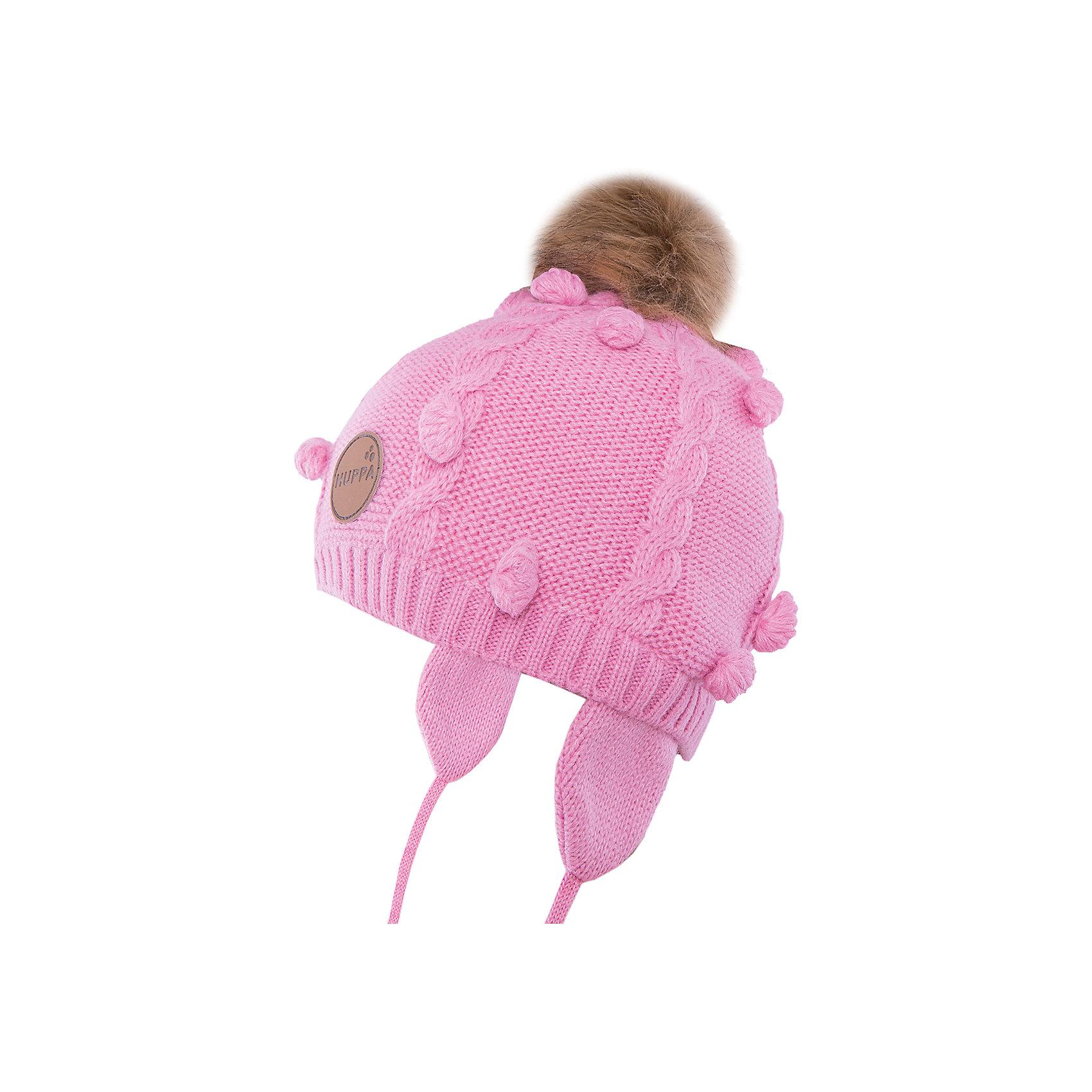 Шапка  HuppaГоловные уборы<br>Модная вязаная шапка MACY Huppa(Хуппа) изготовлена из акрила. Она отлично защищает голову и уши ребенка от холода, благодаря удобной форме, завязкам и клапанам. Шапка украшена меховым помпоном, который обязательно понравится маленькой моднице.<br><br>Дополнительная информация: <br>Материал: 100% акрил<br>Подкладка: 100% хлопок<br>Цвет: розовый<br><br>Шапку MACY Huppa(Хуппа) можно приобрести в нашем интернет-магазине.<br><br>Ширина мм: 89<br>Глубина мм: 117<br>Высота мм: 44<br>Вес г: 155<br>Цвет: розовый<br>Возраст от месяцев: 12<br>Возраст до месяцев: 24<br>Пол: Женский<br>Возраст: Детский<br>Размер: 47-49,55-57,51-53<br>SKU: 4923822