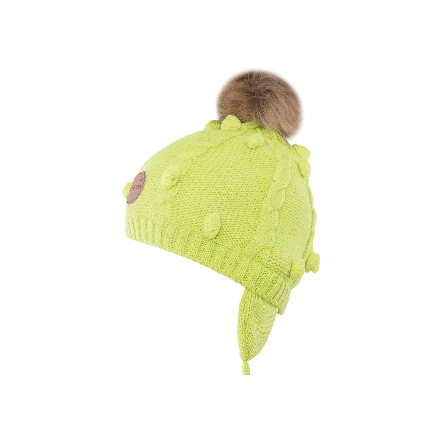 Шапка Macy HuppaГоловные уборы<br>Модная вязаная шапка MACY Huppa(Хуппа) изготовлена из акрила. Она отлично защищает голову и уши ребенка от холода, благодаря удобной форме, завязкам и клапанам. Шапка украшена меховым помпоном, который обязательно понравится маленькой моднице.<br><br>Дополнительная информация: <br>Материал: 100% акрил<br>Подкладка: 100% хлопок<br>Цвет: салатовый<br><br>Шапку MACY Huppa(Хуппа) можно приобрести в нашем интернет-магазине.<br><br>Ширина мм: 89<br>Глубина мм: 117<br>Высота мм: 44<br>Вес г: 155<br>Цвет: зеленый<br>Возраст от месяцев: 12<br>Возраст до месяцев: 24<br>Пол: Женский<br>Возраст: Детский<br>Размер: 47-49,55-57,51-53<br>SKU: 4923830