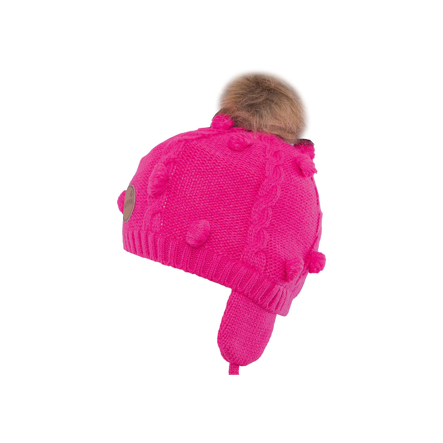 Шапка Macy HuppaЗимние<br>Модная вязаная шапка MACY Huppa(Хуппа) изготовлена из акрила. Она отлично защищает голову и уши ребенка от холода, благодаря удобной форме, завязкам и клапанам. Шапка украшена меховым помпоном, который обязательно понравится маленькой моднице.<br><br>Дополнительная информация: <br>Материал: 100% акрил<br>Подкладка: 100% хлопок<br>Цвет: фуксия<br><br>Шапку MACY Huppa(Хуппа) можно приобрести в нашем интернет-магазине.<br><br>Ширина мм: 89<br>Глубина мм: 117<br>Высота мм: 44<br>Вес г: 155<br>Цвет: розовый<br>Возраст от месяцев: 12<br>Возраст до месяцев: 24<br>Пол: Женский<br>Возраст: Детский<br>Размер: 47-49,55-57,51-53<br>SKU: 4923834