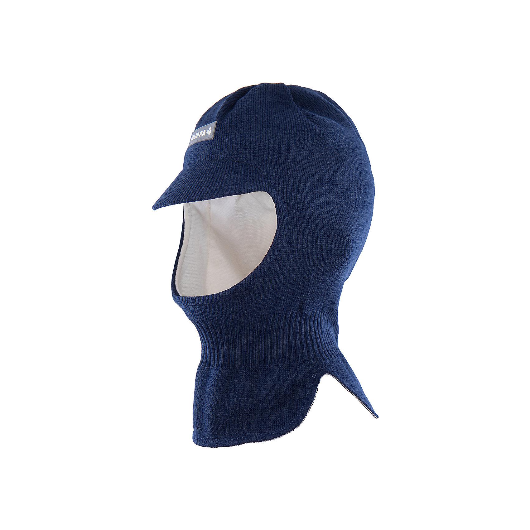 Шапка-шлем  для мальчика HuppaГоловные уборы<br>Классическая вязаная шапка-шлем с козырьком SINDRE Huppa(Хуппа) идеально подойдет для прогулок в зимнее время. Шапка изготовлена из шерсти мериноса и акрила и отлично защитит уши и шею от мороза и ветра. Ее удобно надевать даже под капюшон. Прекрасно впишется в гардероб мальчика.<br><br>Дополнительная информация:<br>Материал: 100% акрил<br>Подкладка: хлопок<br>Цвет: темно-синий<br><br>Шапку-шлем SINDRE Huppa(Хуппа) можно купить в нашем интернет-магазине.<br><br>Ширина мм: 89<br>Глубина мм: 117<br>Высота мм: 44<br>Вес г: 155<br>Цвет: синий<br>Возраст от месяцев: 12<br>Возраст до месяцев: 24<br>Пол: Мужской<br>Возраст: Детский<br>Размер: 47-49,55-57,51-53<br>SKU: 4923902