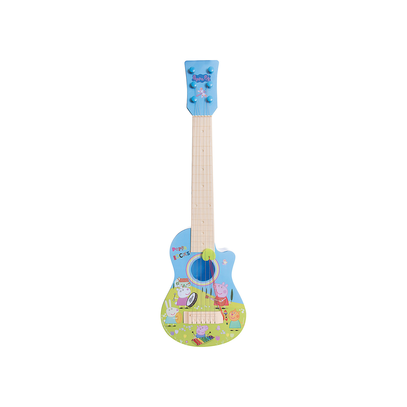 Гитара Пеппы, пластиковая, Свинка ПеппаМногие дети обожают играть на музыкальных инструментах. Сделать это занятие веселее поможет гитары Свинки Пеппы. Яркая гитара с её изображением имеет шесть струн с отличным звучанием и натяжением. В набор также входит медиатор. Она так похожа на настоящую!<br>Гитара обязательно порадует ребенка! Игра на ней помогает детям развивать музыкальный слух. Гитара сделана из качественных и безопасных для ребенка материалов.<br><br>Дополнительная информация:<br><br>цвет: разноцветный;<br>размер упаковки: 56 х 21 х 6,5 см;<br>вес: 430 г;<br>материал: пластик.<br><br>Гитару Пеппы, пластиковую, можно купить в нашем магазине.<br><br>Ширина мм: 560<br>Глубина мм: 205<br>Высота мм: 65<br>Вес г: 430<br>Возраст от месяцев: 36<br>Возраст до месяцев: 2147483647<br>Пол: Унисекс<br>Возраст: Детский<br>SKU: 4924161