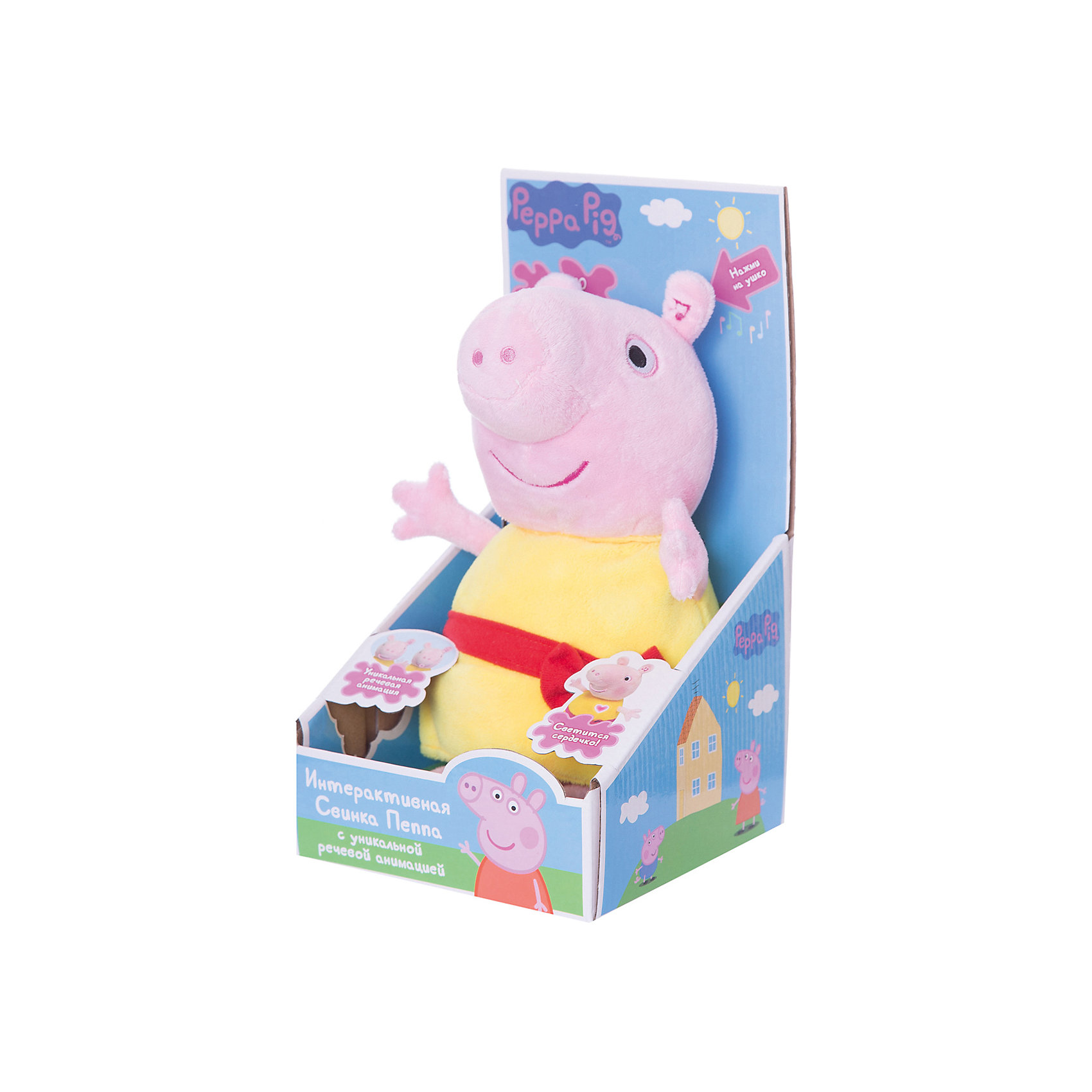 Мягкая игрушка Пеппа,30 см, речь, свет и звук, Свинка ПеппаСвинка Пеппа<br>Малыши очень любознательны и общительны, они каждый день узнают что-то новое. Сделать процесс познавания мира для малышей - просто! Яркая игрушка в  виде Свинки Пеппы поможет ребенку весело  и с пользой провести время. Игрушка сделана из мягкого материала, что развивает тактильное восприятие ребенка. Оснащена звуковыми эффектами (2 песенки, стих и более 10 фраз из мультфильма), также на ней светится сердечко. Она обладает уникальным эффектом речевой анимации, повторяющей движение рта при воспроизведении речи. <br>Эта игрушка обязательно займет ребенка! Игра с ней помогает детям развивать мелкую моторику, внимательность и познавать мир. Игрушка сделана из качественных и безопасных для ребенка материалов.<br><br>Дополнительная информация:<br><br>цвет: разноцветный;<br>размер упаковки: 15 х 16 х 29 см;<br>работает от батареек АААх3, в комплекте;<br>материал: текстиль, пластик.<br><br>Мягкую игрушку Пеппа,30 см, речь, свет и звук, Свинка Пеппа можно купить в нашем магазине.<br><br>Ширина мм: 155<br>Глубина мм: 160<br>Высота мм: 290<br>Вес г: 370<br>Возраст от месяцев: 36<br>Возраст до месяцев: 2147483647<br>Пол: Унисекс<br>Возраст: Детский<br>SKU: 4924163