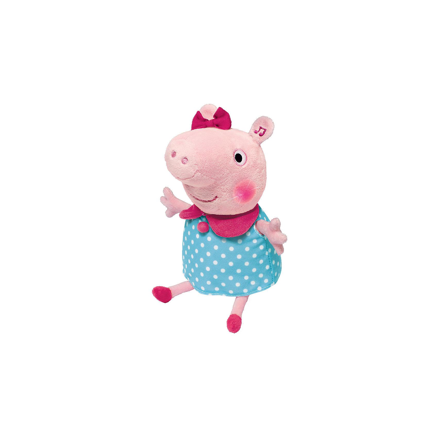 Мягкая игрушка Пеппа,30 см, движение, свет и звук, Свинка ПеппаМалыши очень любознательны и общительны, они каждый день узнают что-то новое. Сделать процесс познавания мира для малышей - просто! Яркая игрушка в  виде Свинки Пеппы поможет ребенку весело  и с пользой провести время. Игрушка сделана из мягкого материала, что развивает тактильное восприятие ребенка. Оснащена звуковыми эффектами (мелодия, два стиха и более 10 фраз из мультфильма), также на ней светятся щеки. Игрушка умеет двигаться из стороны в сторону! <br>Эта игрушка обязательно займет ребенка! Игра с ней помогает детям развивать мелкую моторику, внимательность и познавать мир. Игрушка сделана из качественных и безопасных для ребенка материалов.<br><br>Дополнительная информация:<br><br>цвет: разноцветный;<br>размер упаковки: 15 х 16 х 29 см;<br>работает от батареек АААх3, в комплекте;<br>материал: текстиль, пластик.<br><br>Мягкую игрушку Пеппа,30 см,  движение, свет и звук, Свинка Пеппа можно купить в нашем магазине.<br><br>Ширина мм: 155<br>Глубина мм: 160<br>Высота мм: 290<br>Вес г: 370<br>Возраст от месяцев: 36<br>Возраст до месяцев: 2147483647<br>Пол: Унисекс<br>Возраст: Детский<br>SKU: 4924164