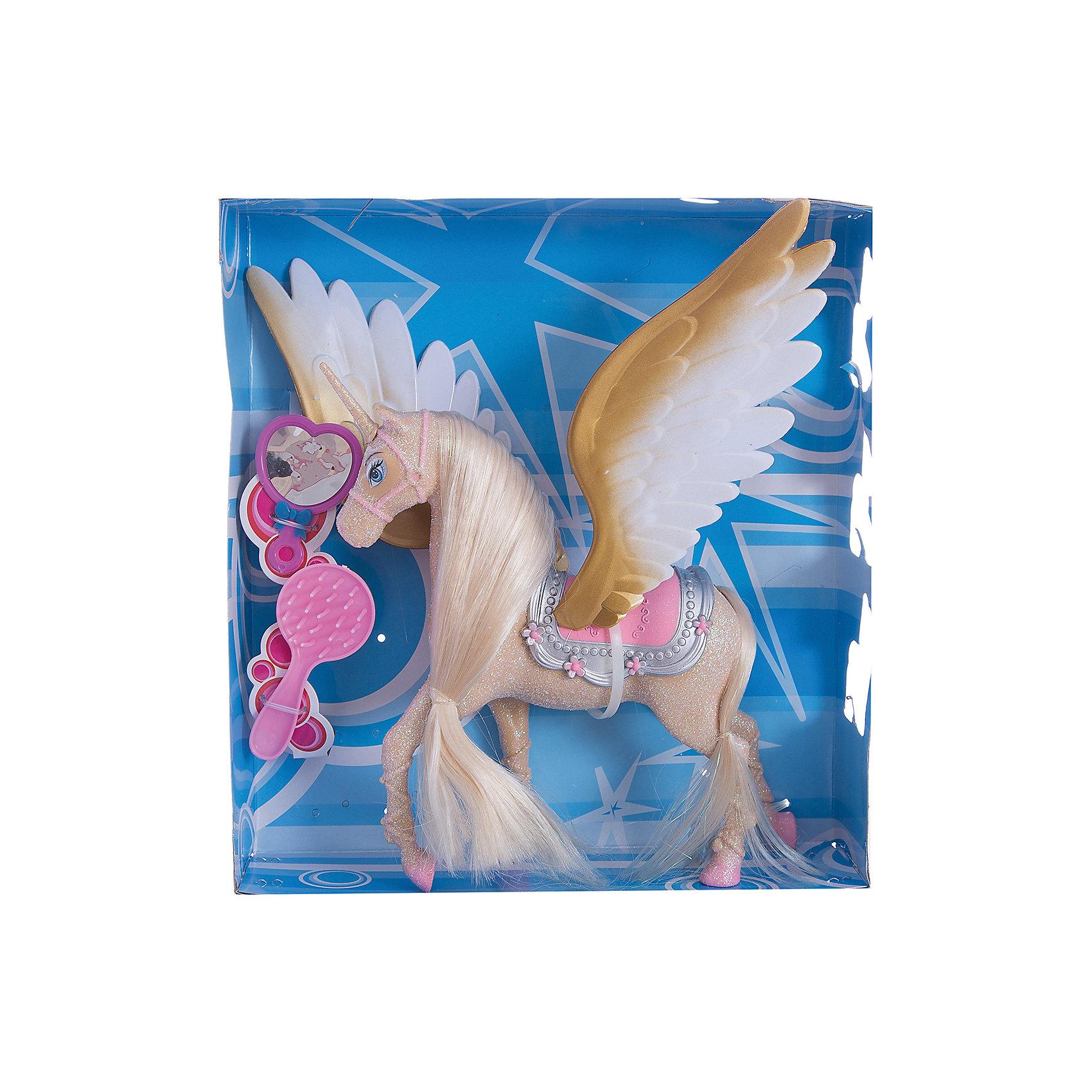 Единорог с крыльями, Shantou GepaiМир животных<br>Единорог с крыльями, Shantou Gepai – это необычная игрушка. Единорог с крыльями, или по-другому называемый «аликорн», по легендам доброе и волшебное существо. Шикарная грива и аксессуары по уходу придут по вкусу ребенку и он захочет играть с этим золотым единорогом снова и снова. В коллекции обычных лошадей и единорогов, крылатый единорог станет самой главной фигурой. Играя с таким набором ребенок развивает моторику ручек и развивает воображение.<br><br>Дополнительная информация:<br><br>- В комплект входит: единорог с крыльями, расческа, зеркальце<br>- Материал: пластик<br>- Размер с упаковкой: 27 * 6 см<br><br>Единорога с крыльями, Shantou Gepai можно купить в нашем интернет-магазине.<br><br>Подробнее:<br>• Для детей в возрасте: от 3 до 9 лет<br>• Номер товара: 4925501<br>Страна производитель: Китай<br><br>Ширина мм: 270<br>Глубина мм: 80<br>Высота мм: 290<br>Вес г: 447<br>Возраст от месяцев: 36<br>Возраст до месяцев: 108<br>Пол: Унисекс<br>Возраст: Детский<br>SKU: 4925501