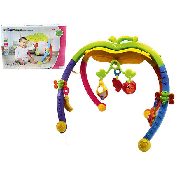 Игровой комплекс Яблочко, Shantou GepaiРазвивающие центры<br>Игровой комплекс Яблочко, Shantou Gepai – это веселый модуль-игрушка, с которым так весело играть и развиваться! Модуль ставится изогнутыми ножками на плоскую поверхность и к нему прикрепляются игрушки-подвески. Верхняя перекладина представлена в виде верхушки яблочка. Игрушки представлены в виде фруктов: бананы, яблочки, арбузик и симпатичная груша с зеркальцем. С этим модулем лучше играть сидя или стоя. Яркие цвета модуля придут малышу по вкусу и помогут ему развить цветовосприятие, а текстурные игрушки и погремушки поспособствуют развитию звукового и тактильного восприятия.<br>Дополнительная информация:<br><br>- В комплект входит: 1 игровой комплекс, игрушки-подвески<br>- Материал: АБС пластик<br><br>Игровой комплекс Яблочко, Shantou Gepai можно купить в нашем интернет-магазине.<br><br>Подробнее:<br>• Для детей в возрасте: от 6 месяцев до 3 лет<br>• Номер товара: 4925506<br>Страна производитель: Китай<br><br>Ширина мм: 520<br>Глубина мм: 80<br>Высота мм: 360<br>Вес г: 12611<br>Возраст от месяцев: 6<br>Возраст до месяцев: 36<br>Пол: Унисекс<br>Возраст: Детский<br>SKU: 4925506