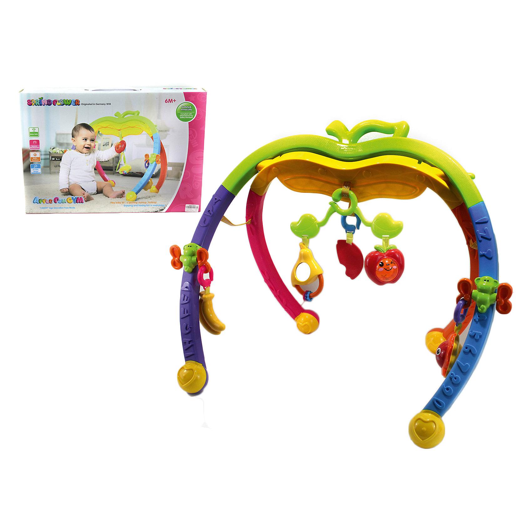 Игровой комплекс Яблочко, Shantou GepaiИгровые столики и центры<br>Игровой комплекс Яблочко, Shantou Gepai – это веселый модуль-игрушка, с которым так весело играть и развиваться! Модуль ставится изогнутыми ножками на плоскую поверхность и к нему прикрепляются игрушки-подвески. Верхняя перекладина представлена в виде верхушки яблочка. Игрушки представлены в виде фруктов: бананы, яблочки, арбузик и симпатичная груша с зеркальцем. С этим модулем лучше играть сидя или стоя. Яркие цвета модуля придут малышу по вкусу и помогут ему развить цветовосприятие, а текстурные игрушки и погремушки поспособствуют развитию звукового и тактильного восприятия.<br>Дополнительная информация:<br><br>- В комплект входит: 1 игровой комплекс, игрушки-подвески<br>- Материал: АБС пластик<br><br>Игровой комплекс Яблочко, Shantou Gepai можно купить в нашем интернет-магазине.<br><br>Подробнее:<br>• Для детей в возрасте: от 6 месяцев до 3 лет<br>• Номер товара: 4925506<br>Страна производитель: Китай<br><br>Ширина мм: 520<br>Глубина мм: 80<br>Высота мм: 360<br>Вес г: 12611<br>Возраст от месяцев: 6<br>Возраст до месяцев: 36<br>Пол: Унисекс<br>Возраст: Детский<br>SKU: 4925506