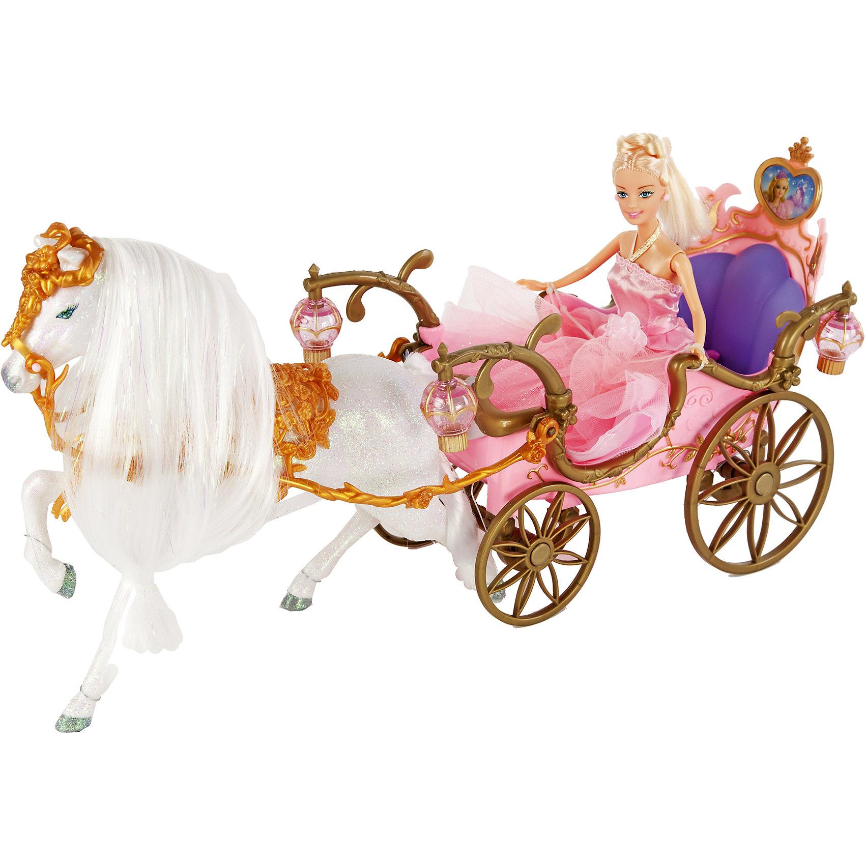 Карета с лошадью и принцессой, Shantou GepaiКарета с лошадью и принцессой, Shantou Gepai - это интересная кукла выглядит как настоящая принцесса! Прекрасная блестящая лошадь с длинной белой гривой выглядит под стать своей хозяйке. На лошади можно кататься и без кареты-повозки, или посадить на нее прекрасного принца. Уздечка и аксессуары лошадки представлены в старомодном стиле и составлены из золотых листиков. Элегантная карета принцессы оснащена четырьмя фонариками, которые работают на батарейках. У самой куклы очень нарядное розовое платье из материала и легкого фатина, она отправляется на бал в соседнее королевство! Играя с куклами дети познают человека со стороны общения между людьми, развивается моторика рук, внимание, воображение, такие игры положительно влияют на психологическое развитие. <br><br>Дополнительная информация:<br><br>- В комплект входит: 1 кукла в одежде, карета, лошадь, аксессуары<br>- Материал: текстиль, пластик <br>- Размер коробки: 56 * 19 * 30 см<br>- Размер куклы: 29 см.<br><br>Карету с лошадью и принцессой, Shantou Gepai можно купить в нашем интернет-магазине.<br><br>Подробнее:<br>• Для детей в возрасте: от 3 до 12 лет<br>• Номер товара: 4925511<br>Страна производитель: Китай<br><br>Ширина мм: 555<br>Глубина мм: 190<br>Высота мм: 300<br>Вес г: 25833<br>Возраст от месяцев: 36<br>Возраст до месяцев: 120<br>Пол: Женский<br>Возраст: Детский<br>SKU: 4925511