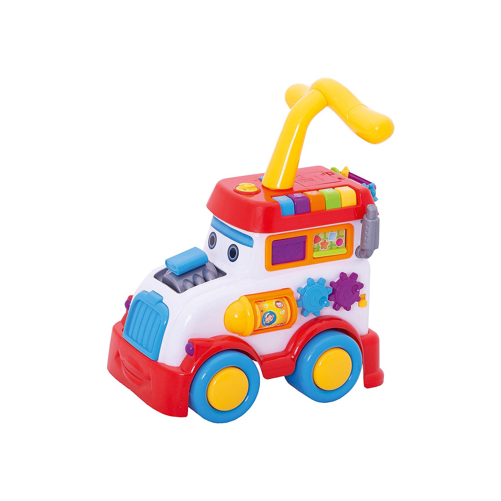 Каталка Паровоз, со звуком, Shantou GepaiКаталка Паровоз, со звуком, Shantou Gepai – это веселый паровозик, с которым так удобно ходить! Ребенок может опираться на удобную ручку паровозика и передвигаться вместе с ним. Этот многофункциональный паровозик имеет много цветных кнопочек, которые издают звуки наиболее популярных видов транспорта (машин, вертолета, паровоза) и звуки зверей (уточки, курочки, коровки, собачки), а вместо пара у паровозика разноцветные маленькие шарики. С этой каталкой малыш сможет развить навыки координации движения и навыки управления.<br><br>Дополнительная информация:<br><br>- В комплект входит: 1 каталка<br>- Материал: АБС пластик<br>- Размер: 43 * 25 * 30 см<br>- Необходимы четыре батарейки типа АА (не входят в комплект)<br><br>Каталку Паровоз, со звуком, Shantou Gepai можно купить в нашем интернет-магазине.<br><br>Подробнее:<br>• Для детей в возрасте: от 3 лет<br>• Номер товара: 4925515<br>Страна производитель: Китай<br><br>Ширина мм: 425<br>Глубина мм: 250<br>Высота мм: 295<br>Вес г: 3806<br>Возраст от месяцев: 12<br>Возраст до месяцев: 60<br>Пол: Унисекс<br>Возраст: Детский<br>SKU: 4925515