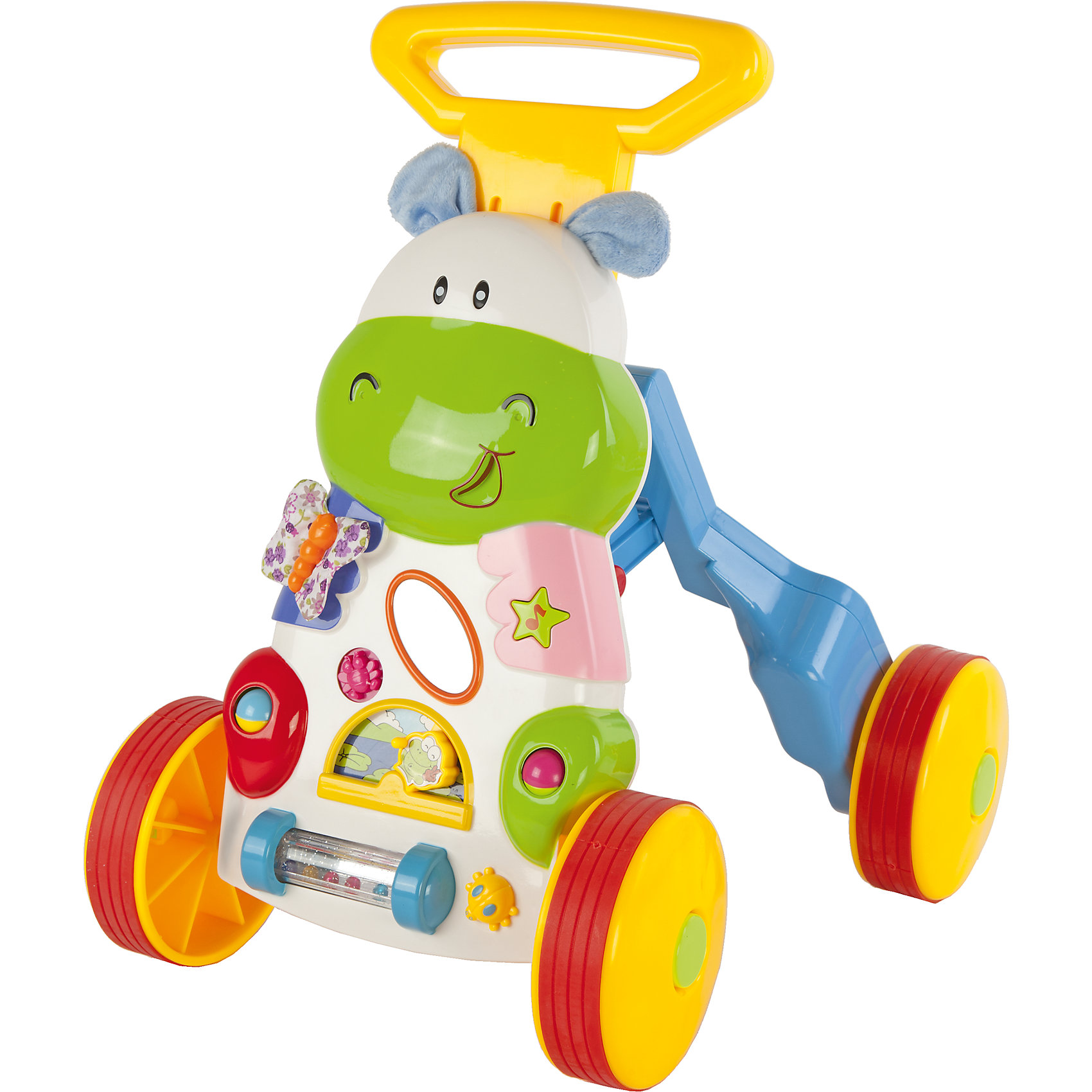Каталка-ходунки Бегемотик, со светом и звуком, Shantou GepaiИгрушки для малышей<br>Каталка-ходунки Бегемотик, со светом и звуком, Shantou Gepai – это веселые ходунки, с которыми так весело играть и развиваться! Ребенок может опираться на удобную регулируемую ручку бегемотика, с которым так удобно ходить. А передняя часть ходунков оснащена разнообразными развивающими играми, такими как счеты, сортер, часы, который научит ребенка понятию времени на примере стрелок и циферблата. На панели также имеется вращающийся барабан с шариками, в центре размещен домик с дверцей  и бабочка с двигающимся крылышком. У каталки имеются звуковые и световые сигналы. С этой каталкой малыш сможет развить навыки координации движения и навыки управления, а развивающие игры помогут развить логику, мелкую моторику рук.<br><br>Дополнительная информация:<br><br>- В комплект входит: 1 каталка<br>- Материал: АБС пластик<br>- Размер: 25 * 40 * 42 см<br>- Вес: 2,04 кг.<br>- Необходимы батарейки типа АА (не входят в комплект)<br><br>Каталка-ходунки Бегемотик, со светом и звуком, Shantou Gepai можно купить в нашем интернет-магазине.<br><br>Подробнее:<br>• Для детей в возрасте: от 12 месяцев до 2 лет<br>• Номер товара: 4925518<br>Страна производитель: Китай<br><br>Ширина мм: 400<br>Глубина мм: 250<br>Высота мм: 415<br>Вес г: 15267<br>Возраст от месяцев: 10<br>Возраст до месяцев: 36<br>Пол: Унисекс<br>Возраст: Детский<br>SKU: 4925518