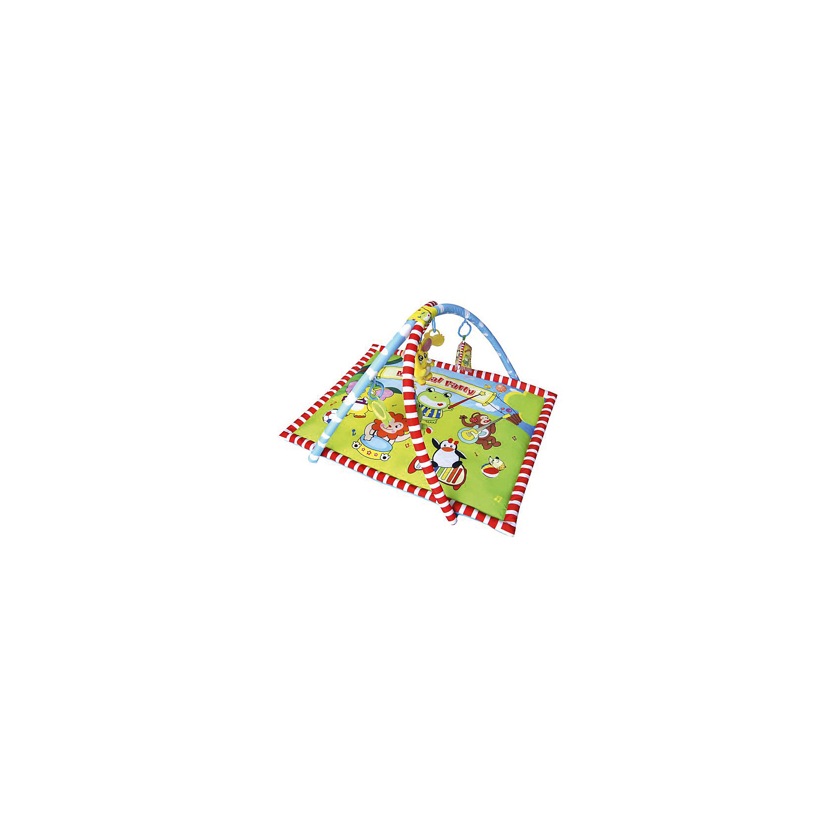 Развивающий коврик Маленький концерт, ЖирафикиРазвивающие коврики<br>Развивающий коврик Маленький концерт, от популярного бренда детских товаров Жирафики развеселит вашу кроху! На коврике изображены яркие и забавные зверята, которые перенесут малыша в страну веселых игр и помогут ему познать мир. Две яркие радужные дуги соединены между собой, на них представлены пять ярких мягких подвесных игрушек, которые прикреплены к дуге на креплениях. Эти развивающие игрушки приятны на ощупь и сделаны из разных текстур и сочетаний цветов для развития тактильного и визуального восприятия, также они шуршат, мягкая книжка пищит, что позволяет ребенку развить звуковые навыки. Также в комплект входит игрушка-прорезыватель для зубов и мягкое подвесное зеркальце. Маленький концерт При желании имеется возможность подвесить на коврик свои любимые игрушки-подвески или игрушки от марки Жирафики.<br><br>Дополнительная информация:<br><br>- В комплект входит: 1 коврик, 2 дуги, 5 подвесок <br>- Материал: АБС пластик, текстиль<br>- Размер: 56 * 59 * 7 см<br><br>Развивающий коврик Маленький концерт, Жирафики можно купить в нашем интернет-магазине.<br><br>Подробнее:<br>• Для детей в возрасте: от 0 до 12 месяцев<br>• Номер товара: 4925521<br>Страна производитель: Китай<br><br>Ширина мм: 590<br>Глубина мм: 65<br>Высота мм: 555<br>Вес г: 9750<br>Возраст от месяцев: 0<br>Возраст до месяцев: 36<br>Пол: Унисекс<br>Возраст: Детский<br>SKU: 4925521