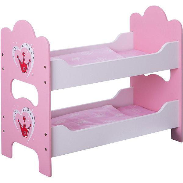 Кроватка деревянная двухспальная Корона, Mary PoppinsМебель для кукол<br>Кроватка деревянная двухспальная Корона от популярного российского бренда кукол и аксессуаров Mary Poppins (Мэри Поппинс). Яркая двухспальная кроватка так понравится вашим куклам, что они захотят спать только в ней! Кроватка выглядит как настоящая, а при необходимости разбирается. Кроватка изготовлена из дерева, что обеспечивает прочность и безопасность игрушки. В комплект входит два набора постельного белья. <br>Дополнительная информация:<br><br>- В комплект входит: двухспальная кроватка в разобранном виде, 2 матраса, 2 одеяла, 2 подушки<br>- Материал: дерево, текстиль<br>- Размер: 53 x 8 x 33 см<br><br>Кроватку деревянную двухспальную Корона, Mary Poppins (Мэри Поппинс) можно купить в нашем интернет-магазине.<br><br>Подробнее:<br>• Для детей в возрасте: от 3 до 10 лет<br>• Номер товара: 4925534<br>Страна производитель: Китай<br><br>Ширина мм: 530<br>Глубина мм: 80<br>Высота мм: 325<br>Вес г: 10000<br>Возраст от месяцев: 36<br>Возраст до месяцев: 120<br>Пол: Женский<br>Возраст: Детский<br>SKU: 4925534
