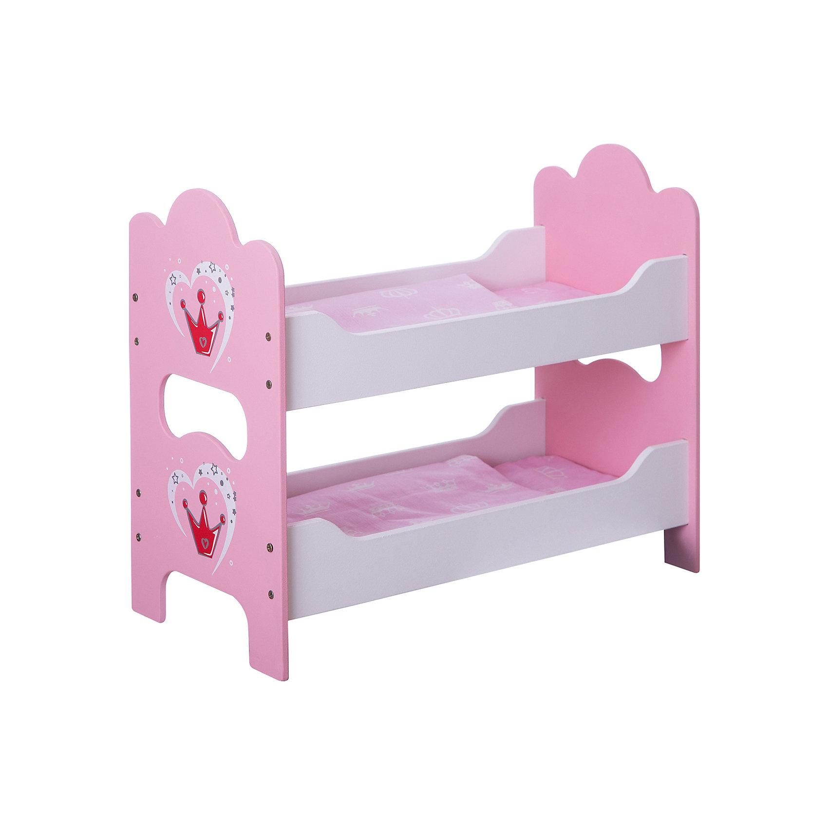 Кроватка деревянная двухспальная Корона, Mary PoppinsДомики и мебель<br>Кроватка деревянная двухспальная Корона от популярного российского бренда кукол и аксессуаров Mary Poppins (Мэри Поппинс). Яркая двухспальная кроватка так понравится вашим куклам, что они захотят спать только в ней! Кроватка выглядит как настоящая, а при необходимости разбирается. Кроватка изготовлена из дерева, что обеспечивает прочность и безопасность игрушки. В комплект входит два набора постельного белья. <br>Дополнительная информация:<br><br>- В комплект входит: двухспальная кроватка в разобранном виде, 2 матраса, 2 одеяла, 2 подушки<br>- Материал: дерево, текстиль<br>- Размер: 53 x 8 x 33 см<br><br>Кроватку деревянную двухспальную Корона, Mary Poppins (Мэри Поппинс) можно купить в нашем интернет-магазине.<br><br>Подробнее:<br>• Для детей в возрасте: от 3 до 10 лет<br>• Номер товара: 4925534<br>Страна производитель: Китай<br><br>Ширина мм: 530<br>Глубина мм: 80<br>Высота мм: 325<br>Вес г: 10000<br>Возраст от месяцев: 36<br>Возраст до месяцев: 120<br>Пол: Женский<br>Возраст: Детский<br>SKU: 4925534
