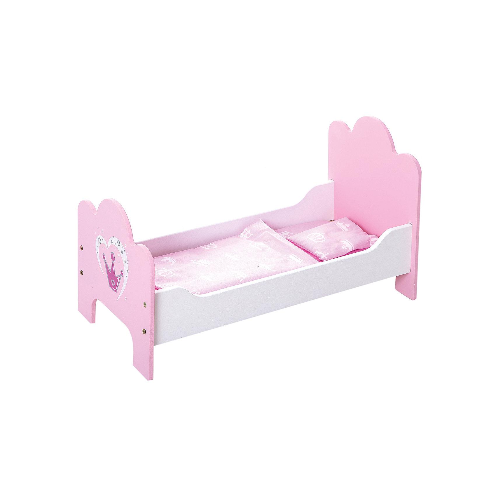 Кроватка деревянная Корона, Mary PoppinsДомики и мебель<br>Кроватка деревянная Корона от популярного российского бренда кукол и аксессуаров Mary Poppins (Мэри Поппинс). Яркая розовая кроватка с короной так понравится вашим куклам, что они захотят спать только в ней! Кроватка выглядит как настоящая, а при необходимости разбирается. Кроватка изготовлена из дерева, что обеспечивает прочность и безопасность игрушки. В комплект входит набор постельного белья. <br>Дополнительная информация:<br><br>- В комплект входит: кроватка в разобранном виде, матрас, одеял, подушка<br>- Материал: дерево, текстиль<br><br>Кроватку деревянную Корона, Mary Poppins (Мэри Поппинс) можно купить в нашем интернет-магазине.<br><br>Подробнее:<br>• Для детей в возрасте: от 3 до 10 лет<br>• Номер товара: 4925535<br>Страна производитель: Китай<br><br>Ширина мм: 530<br>Глубина мм: 80<br>Высота мм: 320<br>Вес г: 8333<br>Возраст от месяцев: 36<br>Возраст до месяцев: 120<br>Пол: Женский<br>Возраст: Детский<br>SKU: 4925535