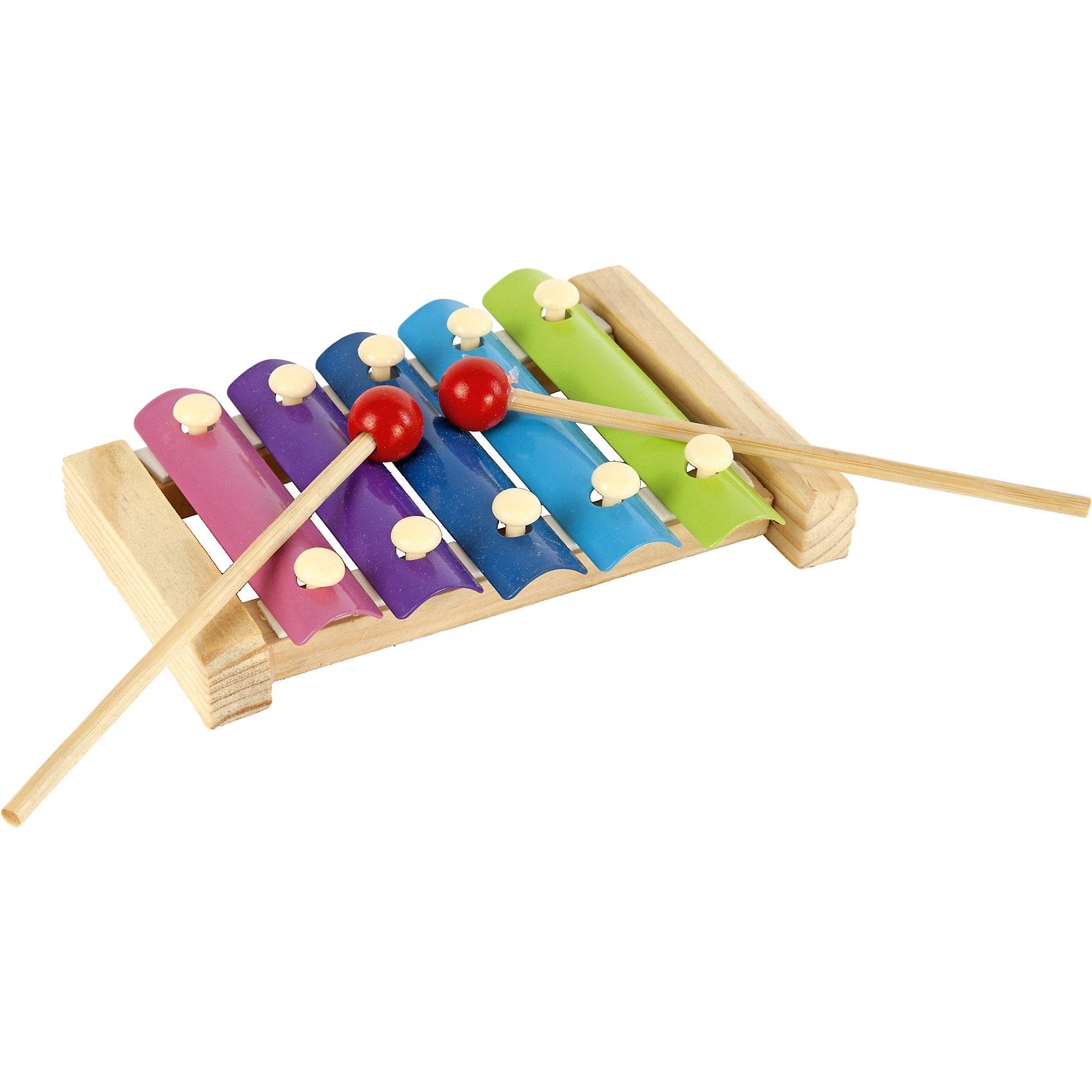 Ксилофон деревянный, 5 тонов, Shantou GepaiКсилофон деревянный, 5 тонов, Shantou Gepai развлечет вашего ребенка и положит начало музыкальному вкусу малыша. Ксилофон состоит пяти тонов, поэтому с ним очень интересно играть. Стуча одной или двумя сразу палочками по клавишам ксилофон издает приятные звуки, поэтому играть в него легко и интересно. Этот набор изготовлен из дерева и окрашен в яркие цвета. Клавиши состоят из металла. Играя с этой игрушкой малыш разовьет мелкую моторику рук, звуковое восприятие и воображение.<br><br>Дополнительная информация:<br><br>- В комплект входит: ксилофон, 2 палочки<br>- Материал: дерево, металл<br>- Размер: 17 * 3,5 * 11,5<br>- Вес: 0,22 кг.<br><br>Ксилофон деревянный, 5 тонов, Shantou Gepai можно купить в нашем интернет-магазине.<br><br>Подробнее:<br>• Для детей в возрасте: от 3 до 7 лет<br>• Номер товара: 4925538<br>Страна производитель: Китай<br><br>Ширина мм: 170<br>Глубина мм: 35<br>Высота мм: 115<br>Вес г: 72<br>Возраст от месяцев: 36<br>Возраст до месяцев: 120<br>Пол: Унисекс<br>Возраст: Детский<br>SKU: 4925538