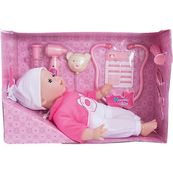 Интерактивная кукла Варя Вылечи меня!, 38 см, Mary PoppinsКуклы<br>Интерактивная кукла Варя Вылечи меня!, 38 см от популярного российского бренда кукол и аксессуаров Mary Poppins (Мэри Поппинс). Эта интерактивная кукла выглядит как настоящий ребеночек! Более того, в комплекте у этой малышки имеется все необходимое для медицинского осмотра и лечения: медицинская карта, стетоскоп, при использовании которого можно услышать биение сердца, отоскоп для проверки ушей, кукла будет хныкать, и, конечно же, если сделать укол, то она начнет громко плакать. Кукла говорит «баба», если нажать на правую руку, а если нажать дважды, то кукла скажем «мама». Теперь кукла Варя будет всегда здорова! Кукла одета в красивый розово-белый комбинезон, а на голове малышки стильная белая с розовым шапочка. Нейтральное выражения лица пупса поможет ребенку придумать множество своих сценариев и чувств куклы, закладывая фундамент социальных навыков и социального развития. Играя с куклами дети познают человека, как с физиологической, так и с стороны общения между людьми, развивается моторика рук, внимание, воображение, такие игры положительно влияют на психологическое развитие. <br><br>Дополнительная информация:<br><br>- В комплект входит: 1 кукла в одежде, стетоскоп, отоскоп, карточка малыша.<br>- Материал: ПВХ, текстиль, пластик <br>- Размер куклы: 38 см<br>- Необходимы три батарейки типа LR44 (не входят в комплект)<br><br>Интерактивную куклу Варя Вылечи меня!, 38 см, Mary Poppins (Мэри Поппинс) можно купить в нашем интернет-магазине.<br><br>Подробнее:<br>• Для детей в возрасте: от 3 до 10 лет<br>• Номер товара: 4925543<br>Страна производитель: Китай<br>Ширина мм: 395; Глубина мм: 160; Высота мм: 325; Вес г: 7578; Возраст от месяцев: 36; Возраст до месяцев: 120; Пол: Женский; Возраст: Детский; SKU: 4925543;