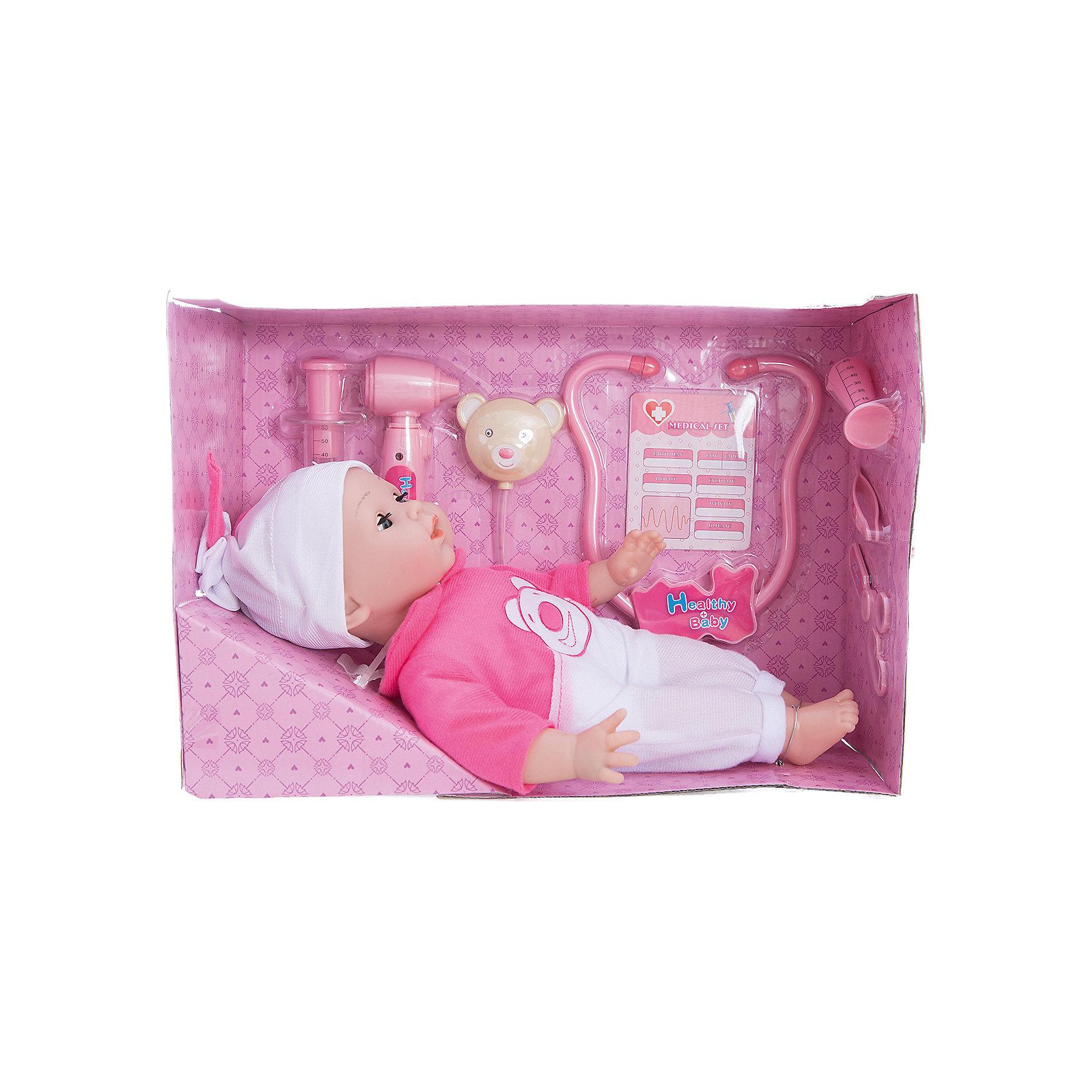 Интерактивная кукла Варя Вылечи меня!, 38 см, Mary PoppinsИнтерактивные куклы<br>Интерактивная кукла Варя Вылечи меня!, 38 см от популярного российского бренда кукол и аксессуаров Mary Poppins (Мэри Поппинс). Эта интерактивная кукла выглядит как настоящий ребеночек! Более того, в комплекте у этой малышки имеется все необходимое для медицинского осмотра и лечения: медицинская карта, стетоскоп, при использовании которого можно услышать биение сердца, отоскоп для проверки ушей, кукла будет хныкать, и, конечно же, если сделать укол, то она начнет громко плакать. Кукла говорит «баба», если нажать на правую руку, а если нажать дважды, то кукла скажем «мама». Теперь кукла Варя будет всегда здорова! Кукла одета в красивый розово-белый комбинезон, а на голове малышки стильная белая с розовым шапочка. Нейтральное выражения лица пупса поможет ребенку придумать множество своих сценариев и чувств куклы, закладывая фундамент социальных навыков и социального развития. Играя с куклами дети познают человека, как с физиологической, так и с стороны общения между людьми, развивается моторика рук, внимание, воображение, такие игры положительно влияют на психологическое развитие. <br><br>Дополнительная информация:<br><br>- В комплект входит: 1 кукла в одежде, стетоскоп, отоскоп, карточка малыша.<br>- Материал: ПВХ, текстиль, пластик <br>- Размер куклы: 38 см<br>- Необходимы три батарейки типа LR44 (не входят в комплект)<br><br>Интерактивную куклу Варя Вылечи меня!, 38 см, Mary Poppins (Мэри Поппинс) можно купить в нашем интернет-магазине.<br><br>Подробнее:<br>• Для детей в возрасте: от 3 до 10 лет<br>• Номер товара: 4925543<br>Страна производитель: Китай<br><br>Ширина мм: 395<br>Глубина мм: 160<br>Высота мм: 325<br>Вес г: 7578<br>Возраст от месяцев: 36<br>Возраст до месяцев: 120<br>Пол: Женский<br>Возраст: Детский<br>SKU: 4925543