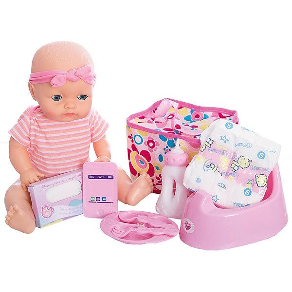 Функциональная кукла, озвученная, 40 см, Shantou GepaiКуклы<br>Функциональная кукла, озвученная, 40 см, Shantou Gepai - эта интересная кукла выглядит как настоящий малыш! Более того, в комплекте у этого пупса имеется все необходимое – бутылочка для кормления, детская тарелочка с возможностью разделения на три блюда, оригинальные ложка и вилка. У куклы в наборе имеется горшок и она умеет писать, в наборе имеется подгузник, салфетки и удобная сумочка для хранения всех необходимых аксессуаров куклы. Кукла одета в милое полосатое боди с цветочками, а не голове стильная розовая повязки. Если куклу положить, то ее глазки закроются. Нейтральное выражения лица пупса поможет ребенку придумать множество своих сценариев и чувств куклы, закладывая фундамент социальных навыков и социального развития. Играя с куклами дети познают человека, как с физиологической, так и с стороны общения между людьми, развивается моторика рук, внимание, воображение, такие игры положительно влияют на психологическое развитие. <br><br>Дополнительная информация:<br><br>- В комплект входит: 1 кукла в одежде, тарелка, ложка и вилка, бутылочка, горшок, подгузник, салфетки, сумочка.<br>- Материал: ПВХ, текстиль, пластик <br>- Размер куклы: 40 см<br><br>Функциональную куклу, озвученная, 40 см, Shantou Gepai можно купить в нашем интернет-магазине.<br><br>Подробнее:<br>• Для детей в возрасте: от 3 до 10 лет<br>• Номер товара: 4925545<br>Страна производитель: Китай<br><br>Ширина мм: 380<br>Глубина мм: 215<br>Высота мм: 360<br>Вес г: 1930<br>Возраст от месяцев: 36<br>Возраст до месяцев: 120<br>Пол: Женский<br>Возраст: Детский<br>SKU: 4925545