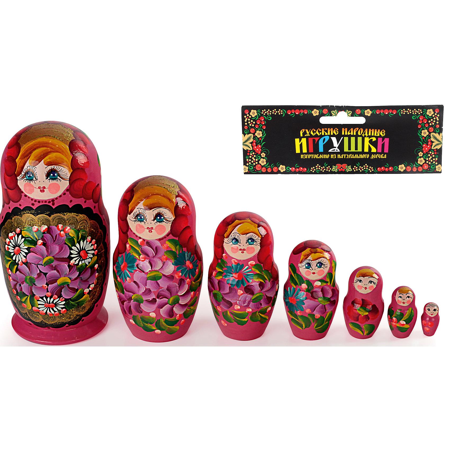 - Матрешка 7 в 1 расписная, Бэмби деревянные игрушки бэмби матрешка красная шапочка 7705