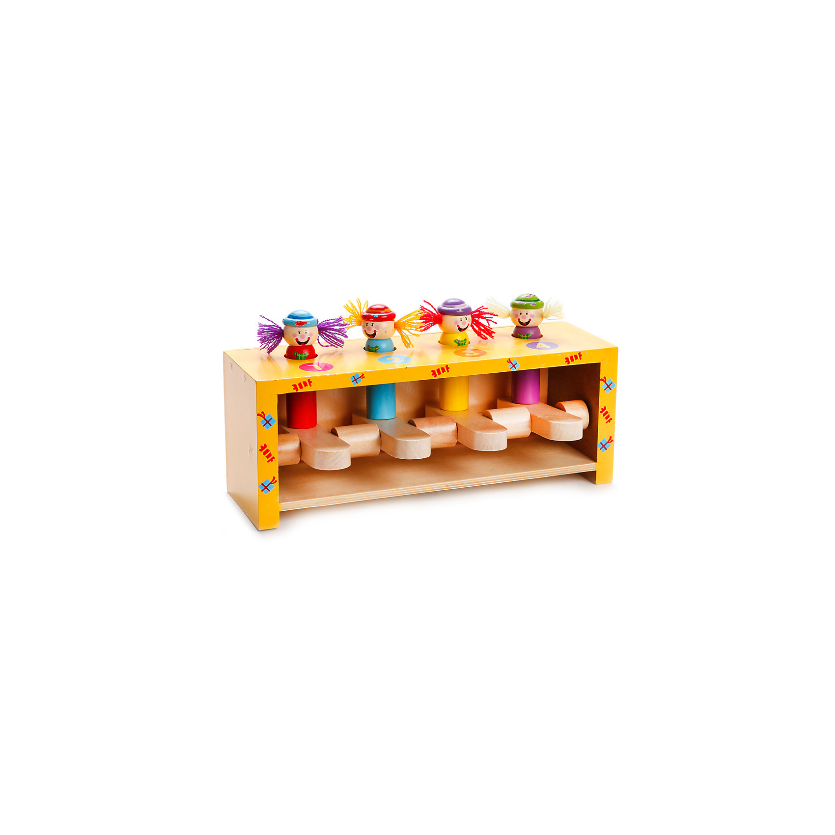Набор с молоточком Прыгающие клоуны, MapachaРазвивающие игрушки<br>Набор с молоточком Прыгающие клоуны от популярного бренда развивающих детских товаров Mapacha (Мапача) придет малышу по вкусу и привнесет разнообразие в привычный арсенал игрушек. Набор представляет собой небольшой ящичек размером 23 * 7 * 8,5 см. с клавишами и отверстиями. В отверстия вставляются четыре забавные фигурки клоуна, если ударить молоточком по клавише один клоун вылетит из ящичка. Задача ребенка – выбить всех клоунов из ящичка. Этот набор изготовлен из экологически чистого и натурального материала – дерева, отлично отшлифован и окрашен в яркие цвета.<br> <br>Дополнительная информация:<br><br>- В комплект входит: ящичек, 4 клоуна, молоточек<br>- Материал: дерево<br>- Размер: 23 * 7 * 8,5 см. <br><br>Набор с молоточком Прыгающие клоуны, Mapacha (Мапача) можно купить в нашем интернет-магазине.<br><br>Подробнее:<br>• Для детей в возрасте: от 1,5 лет<br>• Номер товара: 4925556<br>Страна производитель: Российская Федерация<br><br>Ширина мм: 240<br>Глубина мм: 100<br>Высота мм: 95<br>Вес г: 1354<br>Возраст от месяцев: 12<br>Возраст до месяцев: 48<br>Пол: Унисекс<br>Возраст: Детский<br>SKU: 4925556