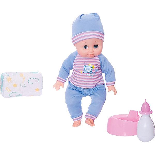 Функциональный пупс 36 см с аксессуарами, Shantou GepaiКуклы<br>Функциональный пупс 36 см с аксессуарами, Shantou Gepai - эта интересная кукла выглядит как настоящий малыш! Более того, в комплекте у этого пупса имеется все необходимые аксессуары по уходу. Малыш одет в зеленые штанишки и полосатую кофточку, на голове стильная шапочка в тон, такой малыш придет по вкусу каждой девочке. Если куклу положить, то глазки автоматически закроются. Нейтральное выражения лица пупса поможет ребенку придумать множество своих сценариев и чувств куклы, закладывая фундамент социальных навыков и социального развития. Играя с куклами дети познают человека, как с физиологической, так и с стороны общения между людьми, развивается моторика рук, внимание, воображение, такие игры положительно влияют на психологическое развитие. <br><br>Дополнительная информация:<br><br>- В комплект входит: 1 кукла в одежде, бутылочка, горшок, подгузник<br>- Материал: ПВХ, текстиль, пластик <br>- Размер куклы: 36 см<br><br>Функционального пупса 36 см с аксессуарами, Shantou Gepai можно купить в нашем интернет-магазине.<br><br>Подробнее:<br>• Для детей в возрасте: от 3 до 10 лет<br>• Номер товара: 4925557<br>Страна производитель: Китай<br>Ширина мм: 300; Глубина мм: 120; Высота мм: 330; Вес г: 2500; Возраст от месяцев: 36; Возраст до месяцев: 120; Пол: Женский; Возраст: Детский; SKU: 4925557;