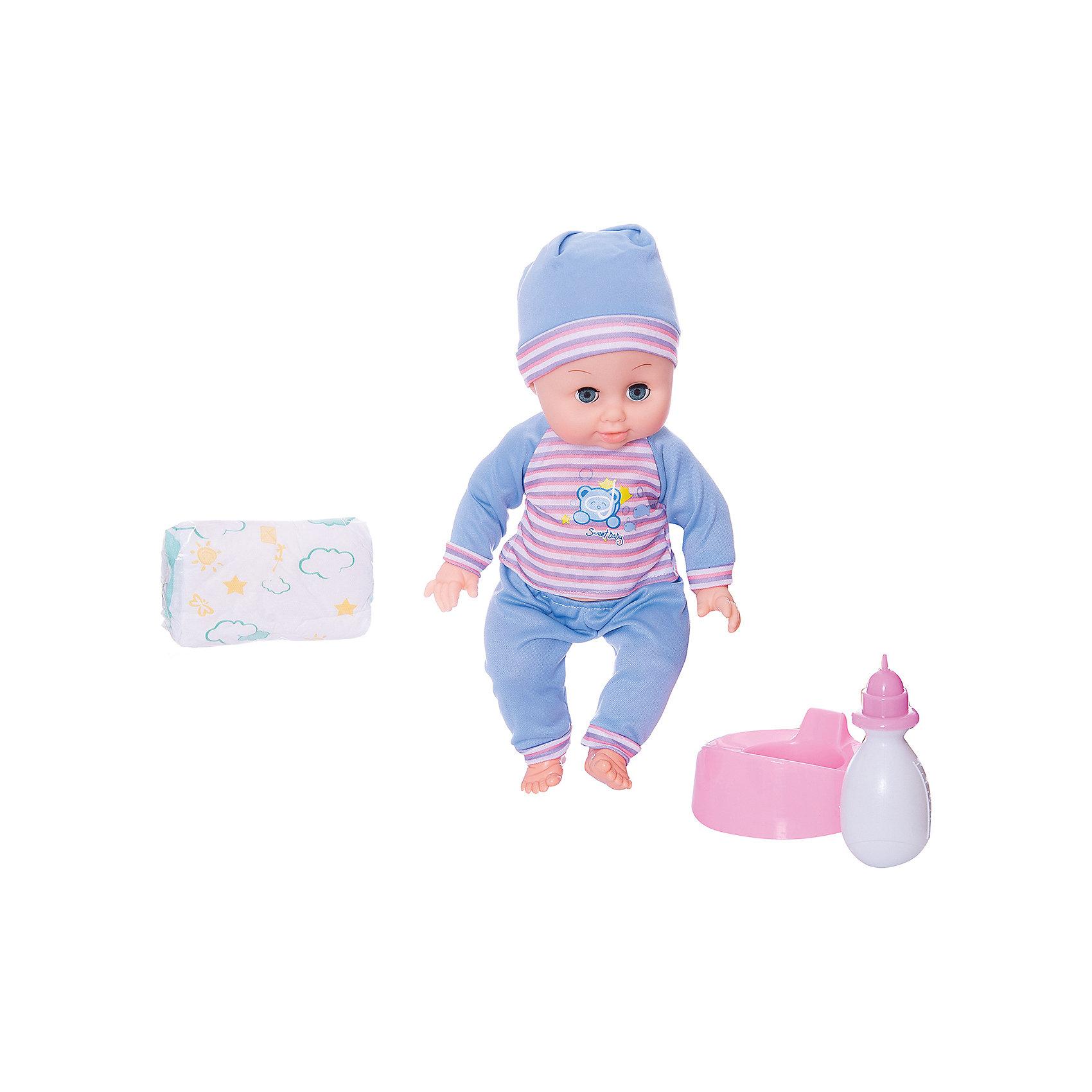Функциональный пупс 36 см с аксессуарами, Shantou GepaiИнтерактивные куклы<br>Функциональный пупс 36 см с аксессуарами, Shantou Gepai - эта интересная кукла выглядит как настоящий малыш! Более того, в комплекте у этого пупса имеется все необходимые аксессуары по уходу. Малыш одет в зеленые штанишки и полосатую кофточку, на голове стильная шапочка в тон, такой малыш придет по вкусу каждой девочке. Если куклу положить, то глазки автоматически закроются. Нейтральное выражения лица пупса поможет ребенку придумать множество своих сценариев и чувств куклы, закладывая фундамент социальных навыков и социального развития. Играя с куклами дети познают человека, как с физиологической, так и с стороны общения между людьми, развивается моторика рук, внимание, воображение, такие игры положительно влияют на психологическое развитие. <br><br>Дополнительная информация:<br><br>- В комплект входит: 1 кукла в одежде, бутылочка, горшок, подгузник<br>- Материал: ПВХ, текстиль, пластик <br>- Размер куклы: 36 см<br><br>Функционального пупса 36 см с аксессуарами, Shantou Gepai можно купить в нашем интернет-магазине.<br><br>Подробнее:<br>• Для детей в возрасте: от 3 до 10 лет<br>• Номер товара: 4925557<br>Страна производитель: Китай<br><br>Ширина мм: 300<br>Глубина мм: 120<br>Высота мм: 330<br>Вес г: 2500<br>Возраст от месяцев: 36<br>Возраст до месяцев: 120<br>Пол: Женский<br>Возраст: Детский<br>SKU: 4925557
