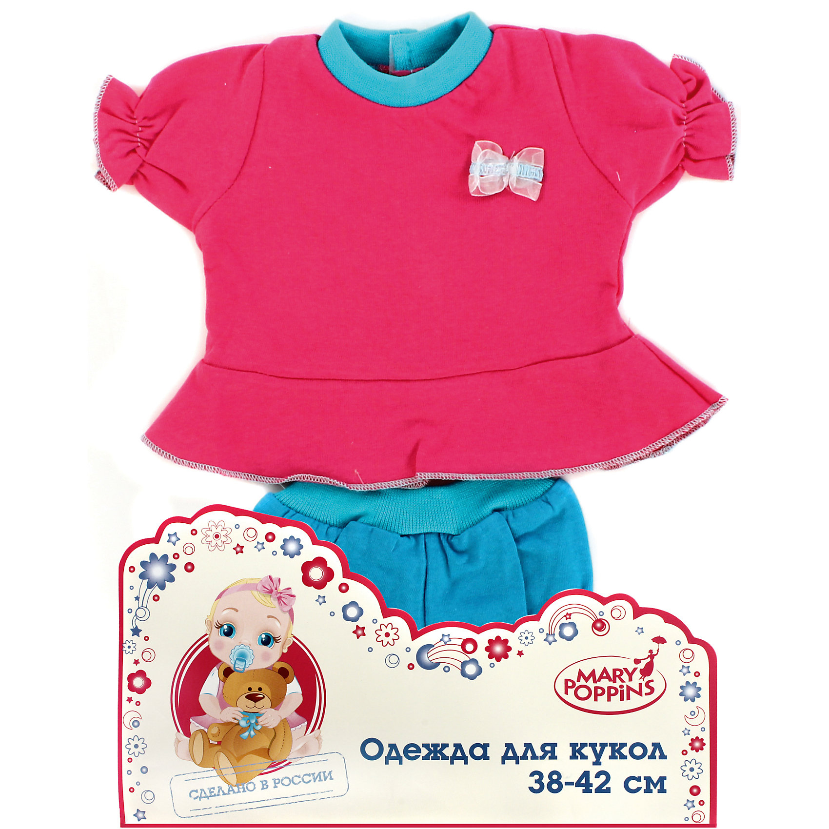 Одежда для куклы 42 см, кофоточка и шортики, Mary Poppins, в ассортиментеКукольная одежда и аксессуары<br>Одежда для куклы 42 см, кофточка и шортики, в ассортименте от популярного российского бренда кукол и аксессуаров Mary Poppins (Мэри Поппинс). Интересный и яркий набор с шортиками и кофточкой, которые прекрасно сочетаются друг с другом, подойдет всем куклам длиной от 38 до 42 см. Маленькая мама может теперь менять одежду своим деткам или даже стирать ее в игрушечной машине. Играя с куклами дети познают человека, как с физиологической, так и с стороны общения между людьми, развивается моторика рук, внимание, воображение, такие игры положительно влияют на психологическое развитие. <br><br>Дополнительная информация:<br><br>- В комплект входит: шортики, кофточка<br>- Материал: текстиль<br><br>Внимание! Одежда для куклы 42 см, кофточка и шортики поставляется в разных цветовых вариантах. К сожалению, заранее выбрать определенный цвет нельзя. При заказе двух кофточек и шортиков возможно получение одинаковых.<br><br>Одежду для куклы 42 см, кофточка и шортики, в ассортименте, Mary Poppins (Мэри Поппинс) можно купить в нашем интернет-магазине.<br><br>Подробнее:<br>• Для детей в возрасте: от 3 до 10 лет<br>• Номер товара: 4925568<br>Страна производитель: Китай<br><br>Ширина мм: 175<br>Глубина мм: 5<br>Высота мм: 300<br>Вес г: 27<br>Возраст от месяцев: 36<br>Возраст до месяцев: 120<br>Пол: Женский<br>Возраст: Детский<br>SKU: 4925568