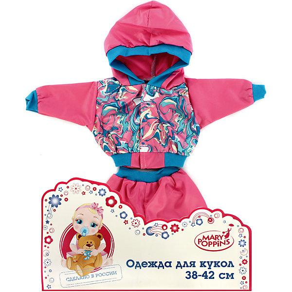 Одежда для куклы 42 см, курточка и брючки, Mary Poppins, в ассортиментеОдежда для кукол<br>Одежда для куклы 42 см, курточка и брючки, в ассортименте от популярного российского бренда кукол и аксессуаров Mary Poppins (Мэри Поппинс). Интересный и яркий набор с курточкой и брючками, которые прекрасно сочетаются друг с другом, подойдет всем куклам длиной 42 см. Маленькая мама может теперь менять одежду своим деткам или даже стирать ее в игрушечной машине. Играя с куклами дети познают человека, как с физиологической, так и с стороны общения между людьми, развивается моторика рук, внимание, воображение, такие игры положительно влияют на психологическое развитие. <br><br>Дополнительная информация:<br><br>- В комплект входит: курточка и брючки<br>- Материал: текстиль<br><br>Внимание! Одежда для куклы 42 см, курточка и брючки поставляется в разных цветовых вариантах. К сожалению, заранее выбрать определенный цвет нельзя. При заказе двух курточек и брючек возможно получение одинаковых.<br><br>Одежду для куклы 42 см, курточка и брючки, в ассортименте, Mary Poppins (Мэри Поппинс) можно купить в нашем интернет-магазине.<br><br>Подробнее:<br>• Для детей в возрасте: от 3 до 10 лет<br>• Номер товара: 4925573<br>Страна производитель: Китай<br><br>Ширина мм: 175<br>Глубина мм: 5<br>Высота мм: 300<br>Вес г: 27<br>Возраст от месяцев: 36<br>Возраст до месяцев: 120<br>Пол: Женский<br>Возраст: Детский<br>SKU: 4925573